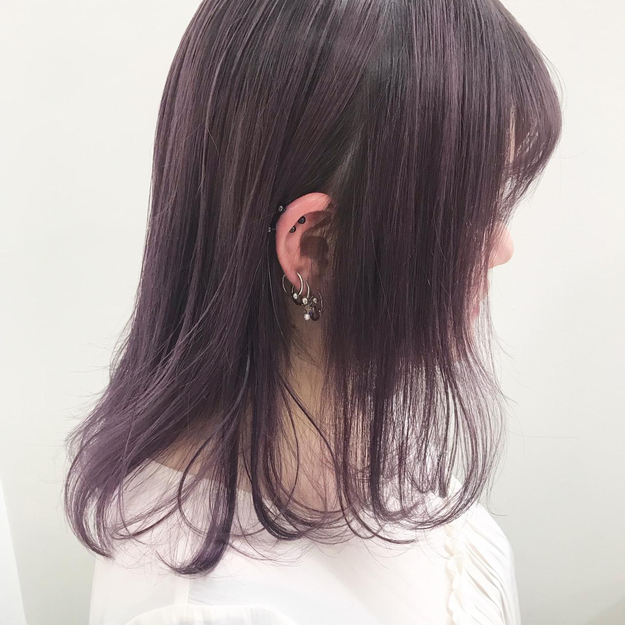 ピンクアッシュ ミディアム ピンク ピンクパープル ヘアスタイルや髪型の写真・画像