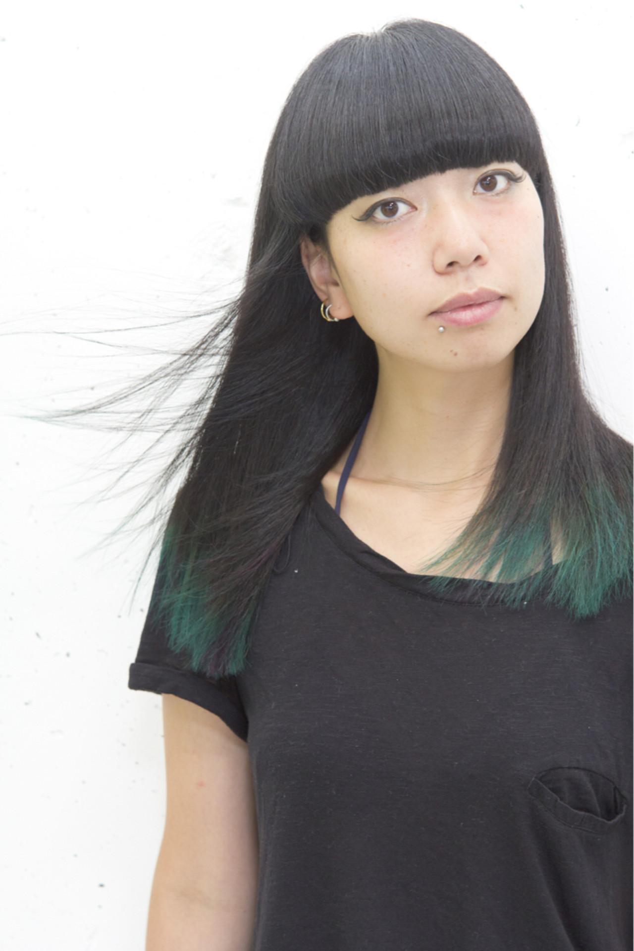 ストリート 黒髪 グリーン セミロング Sowi Hair Design ソーイ Sowi