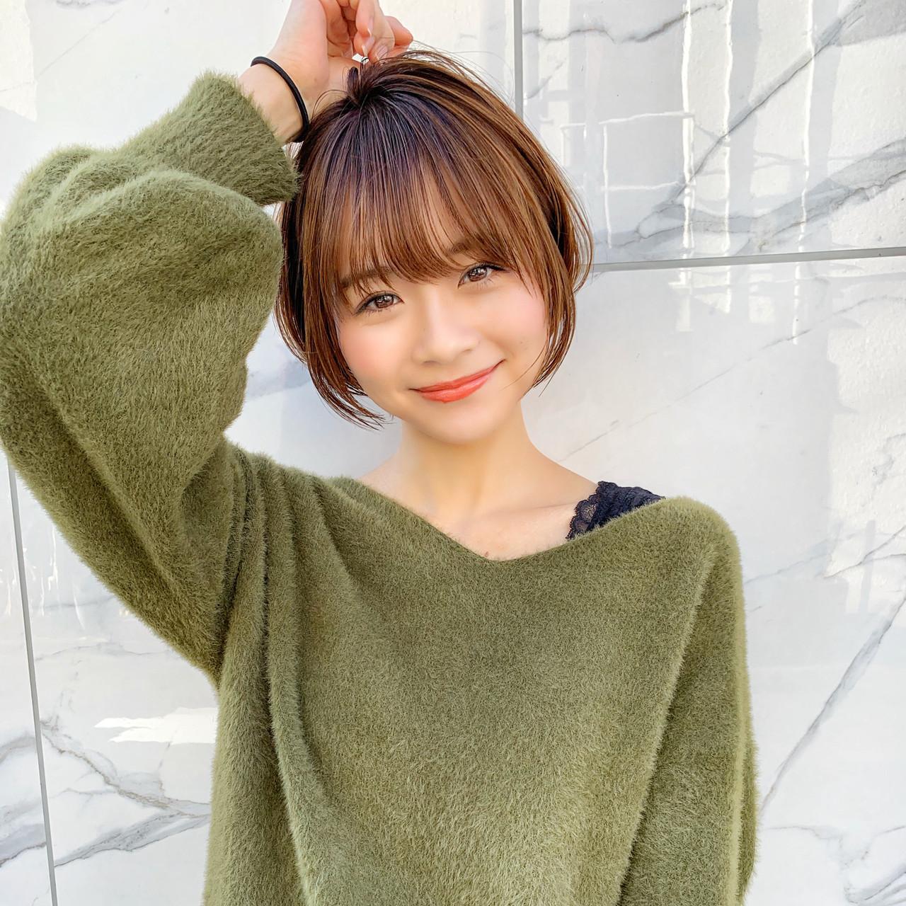 ナチュラル デート シースルーバング 小顔ヘア ヘアスタイルや髪型の写真・画像 | MANOHARU 新屋敷 / MANOHARU