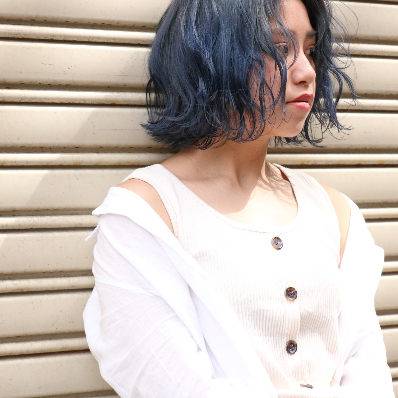 ブルージュ アッシュグレージュ ネイビーブルー ボブ ヘアスタイルや髪型の写真・画像 | 中村明俊 / AUBE hair