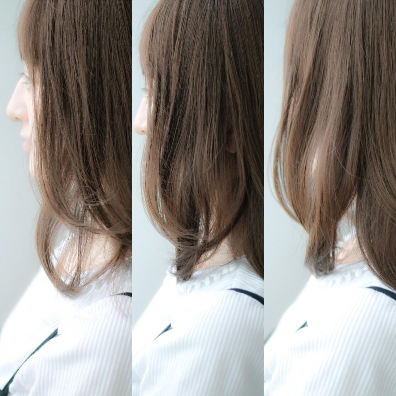 ロブ ブラウン 大人かわいい ミディアム ヘアスタイルや髪型の写真・画像