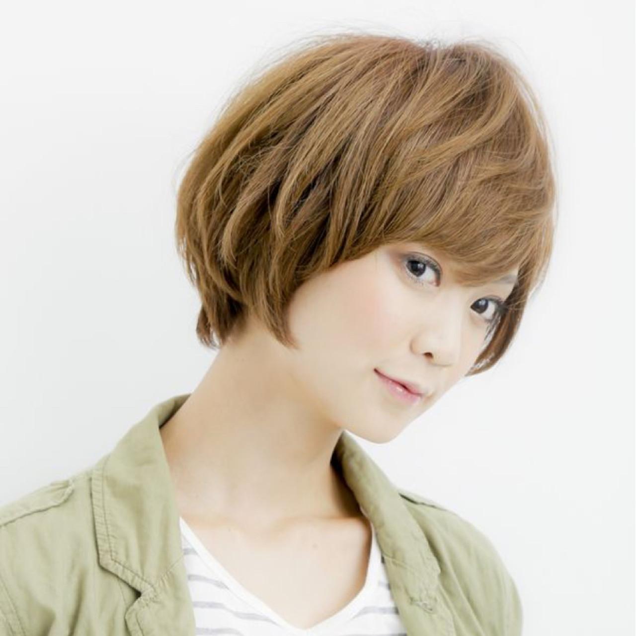 小顔 ナチュラル 似合わせ ショート ヘアスタイルや髪型の写真・画像   中間 隆宏 / sherry