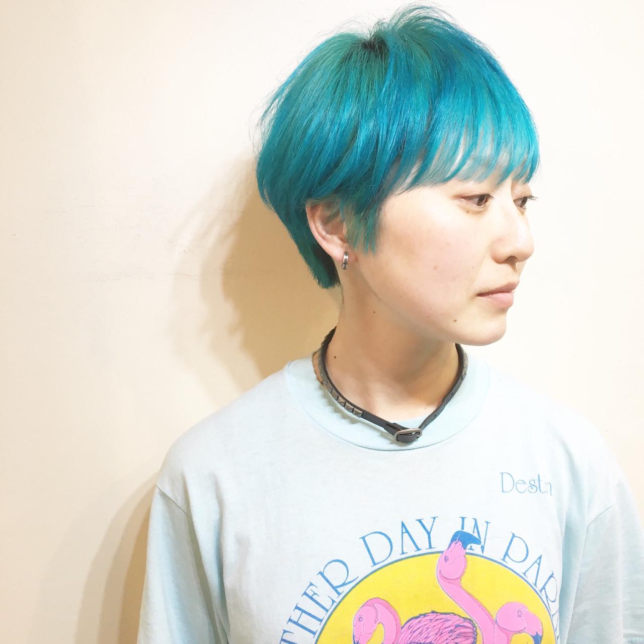 マニッシュショート × ターコイズブルー ハイ透明感カラー☆