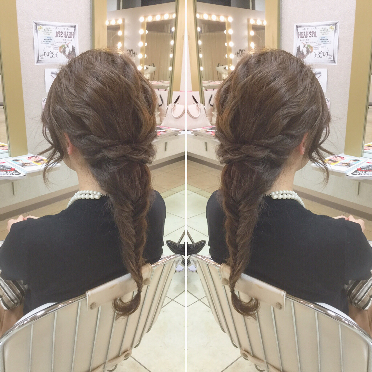ヘアアレンジ エレガント ロング フィッシュボーン ヘアスタイルや髪型の写真・画像