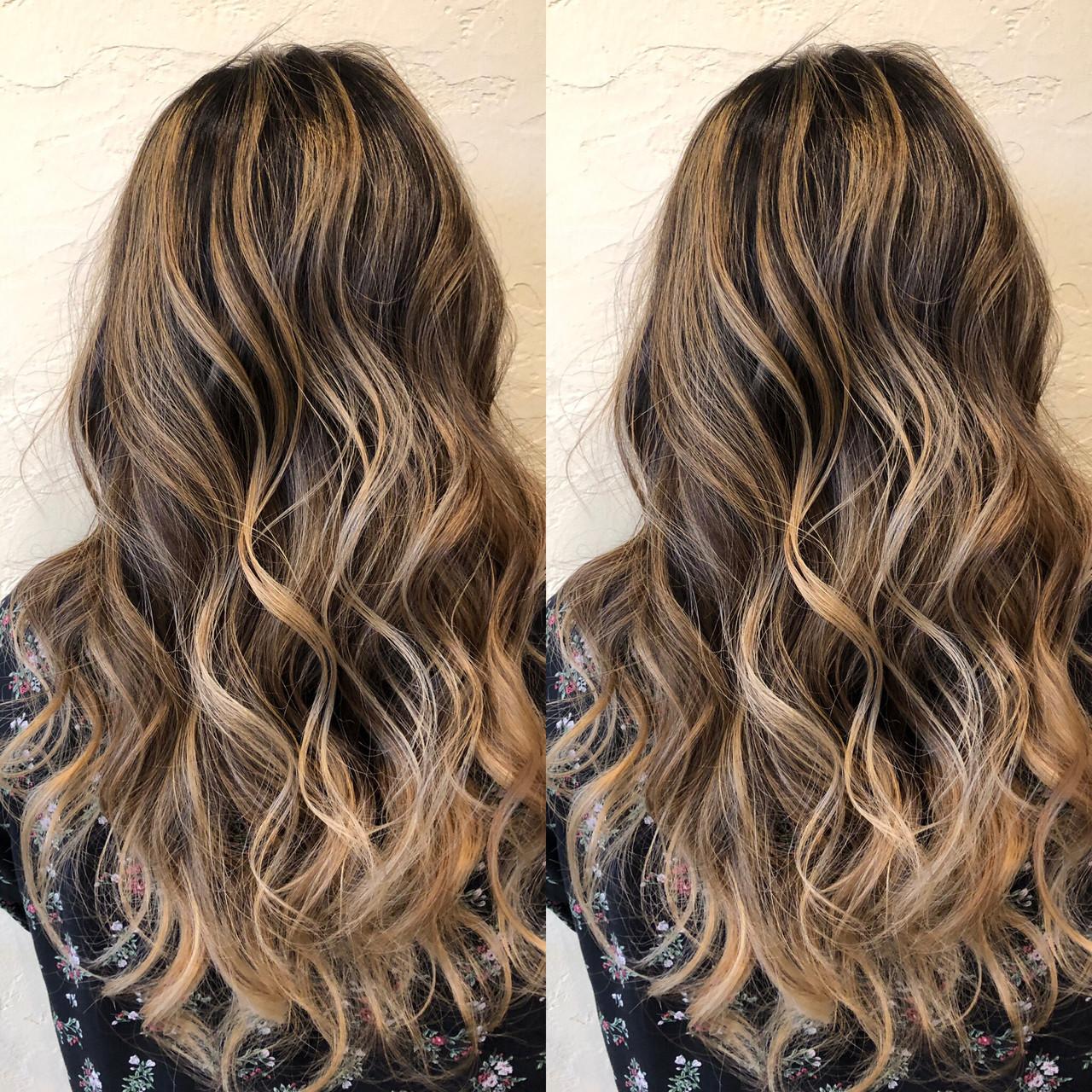 バレイヤージュ 西海岸風 ストリート エアータッチ ヘアスタイルや髪型の写真・画像