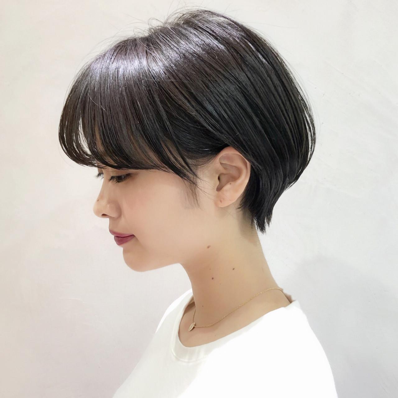 ショートボブ 大人かわいい パーマ ナチュラル ヘアスタイルや髪型の写真・画像 | 趙 英来 (よん) / nex