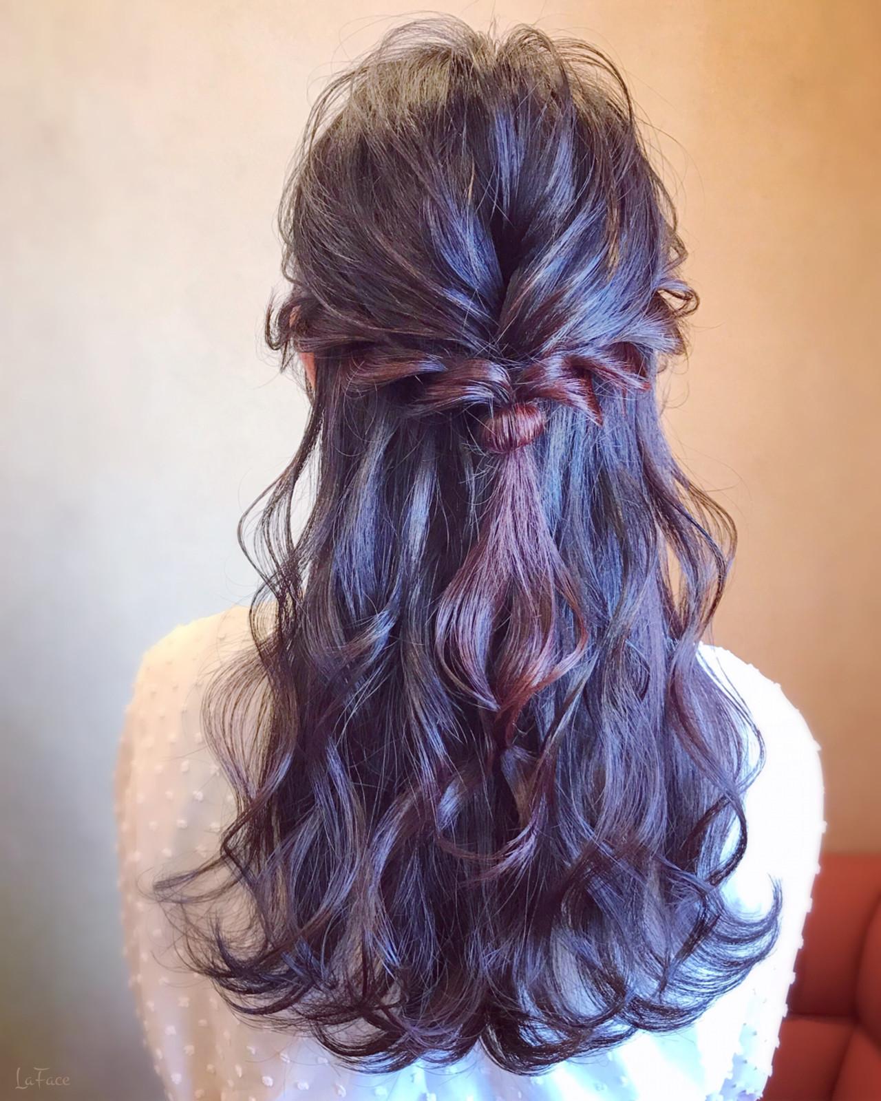 結婚式 ロング エレガント 簡単ヘアアレンジ ヘアスタイルや髪型の写真・画像