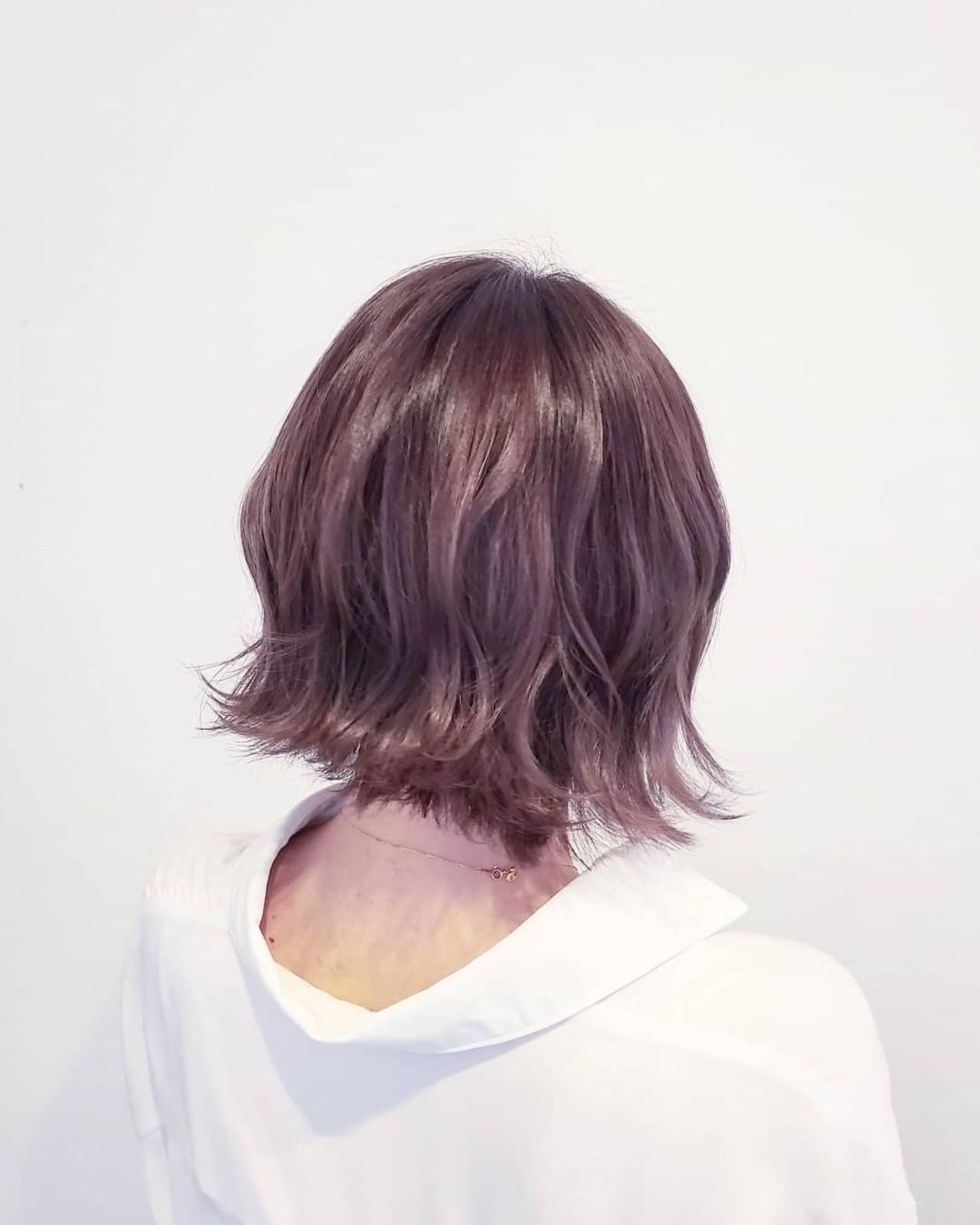 ナチュラル 切りっぱなしボブ ラベンダーアッシュ ベージュ ヘアスタイルや髪型の写真・画像 | 浅原 有輝 / rough