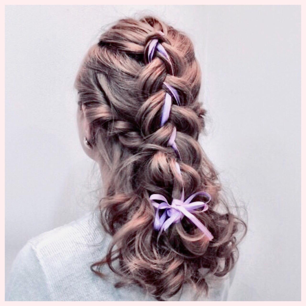 編み込み ヘアアレンジ ロング 三つ編み ヘアスタイルや髪型の写真・画像
