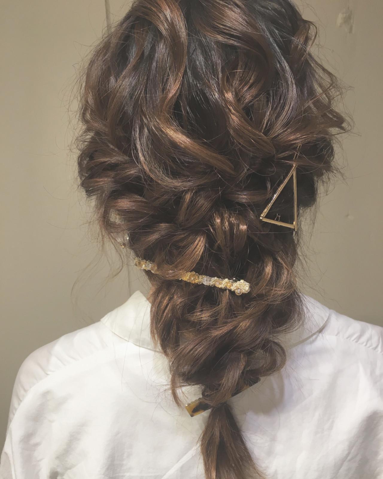 結婚式 セミロング ヘアアレンジ パーティ ヘアスタイルや髪型の写真・画像