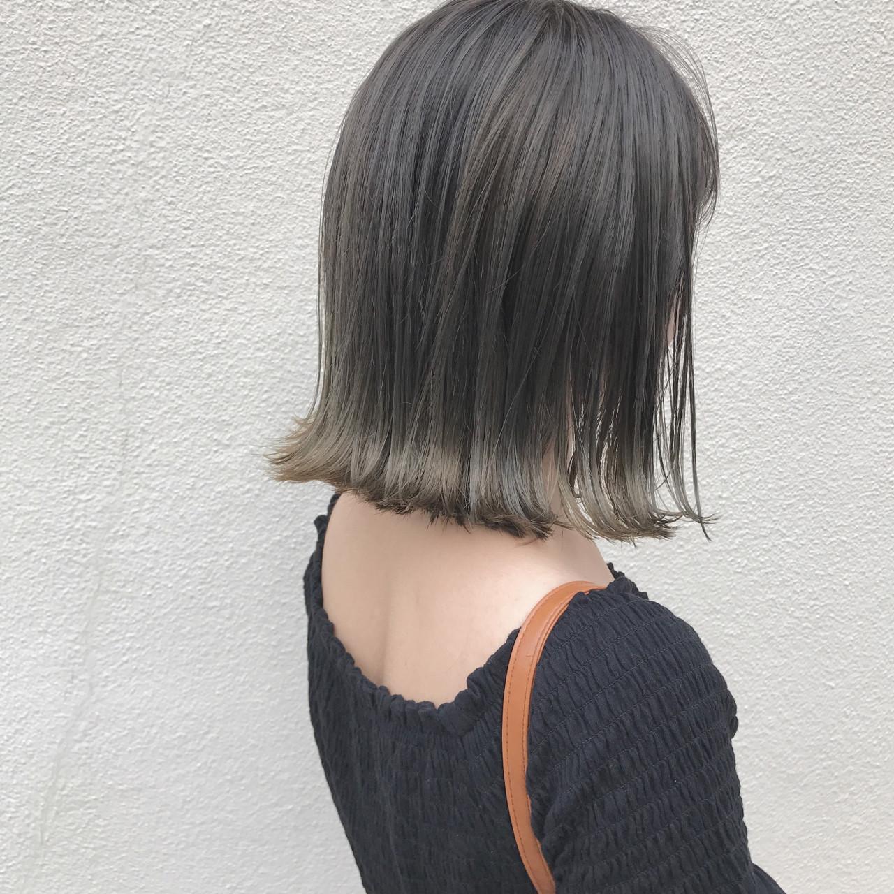 ナチュラル 切りっぱなし ハイライト 透明感 ヘアスタイルや髪型の写真・画像
