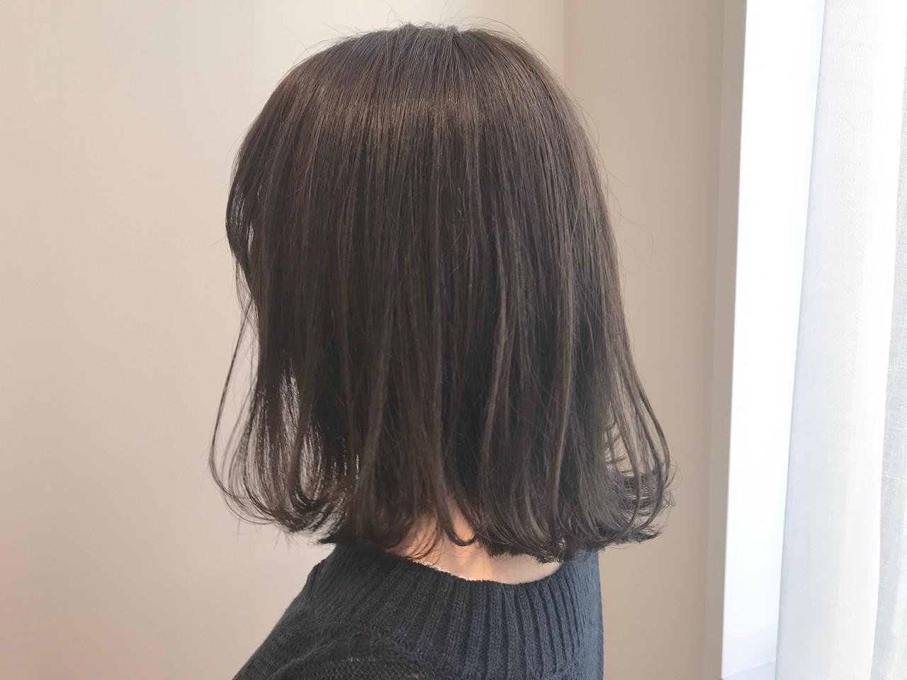 アンニュイほつれヘア モテ髪 オリーブアッシュ ボブ ヘアスタイルや髪型の写真・画像