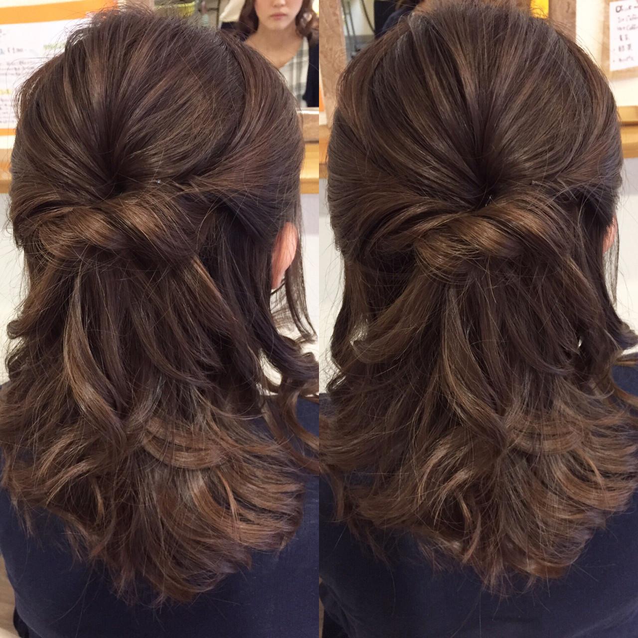 ハーフアップ フェミニン セミロング デート ヘアスタイルや髪型の写真・画像