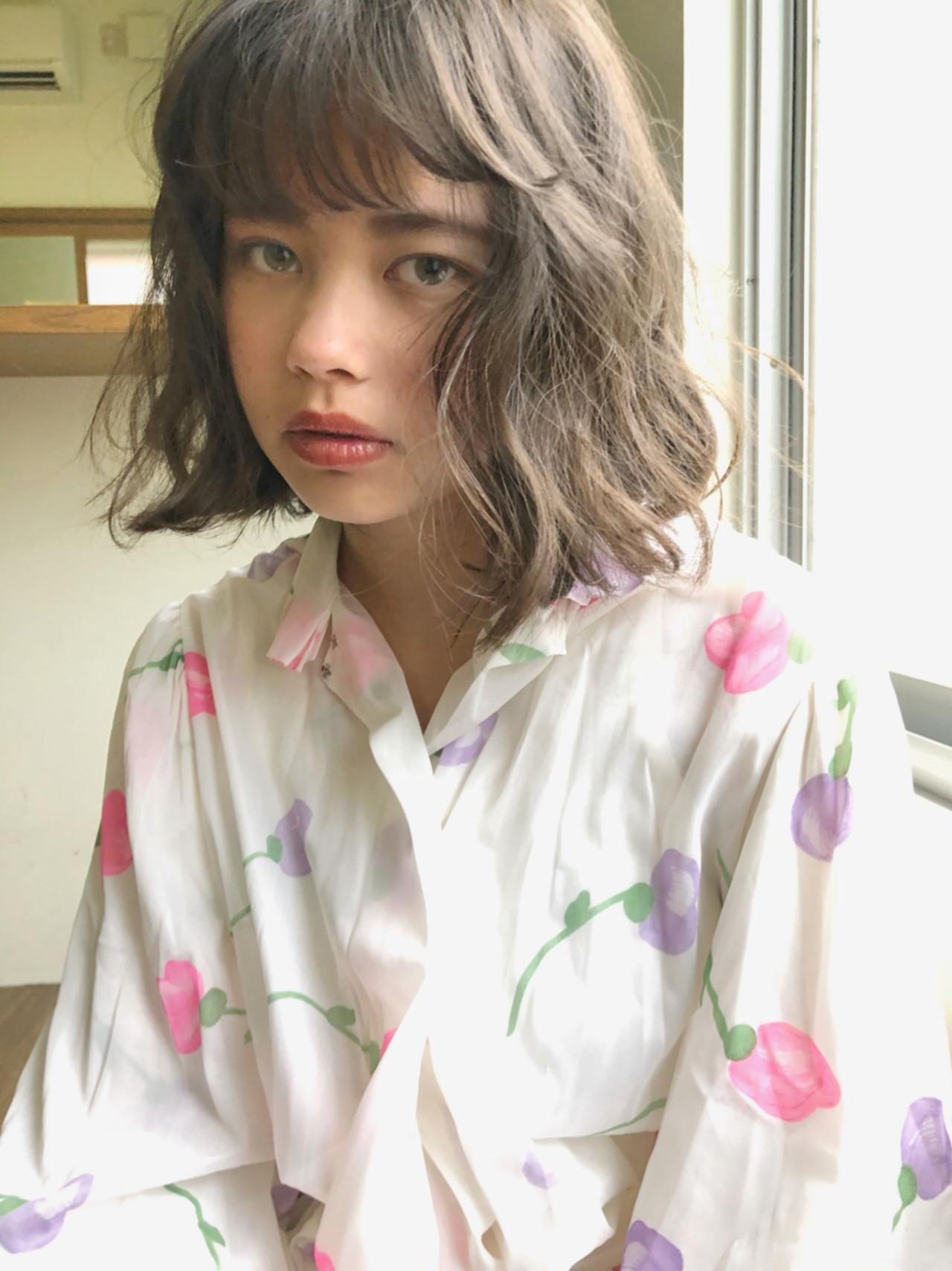 アンニュイほつれヘア ゆるふわ ガーリー ボブ ヘアスタイルや髪型の写真・画像 | 中島 潮里 / whyte / whyte