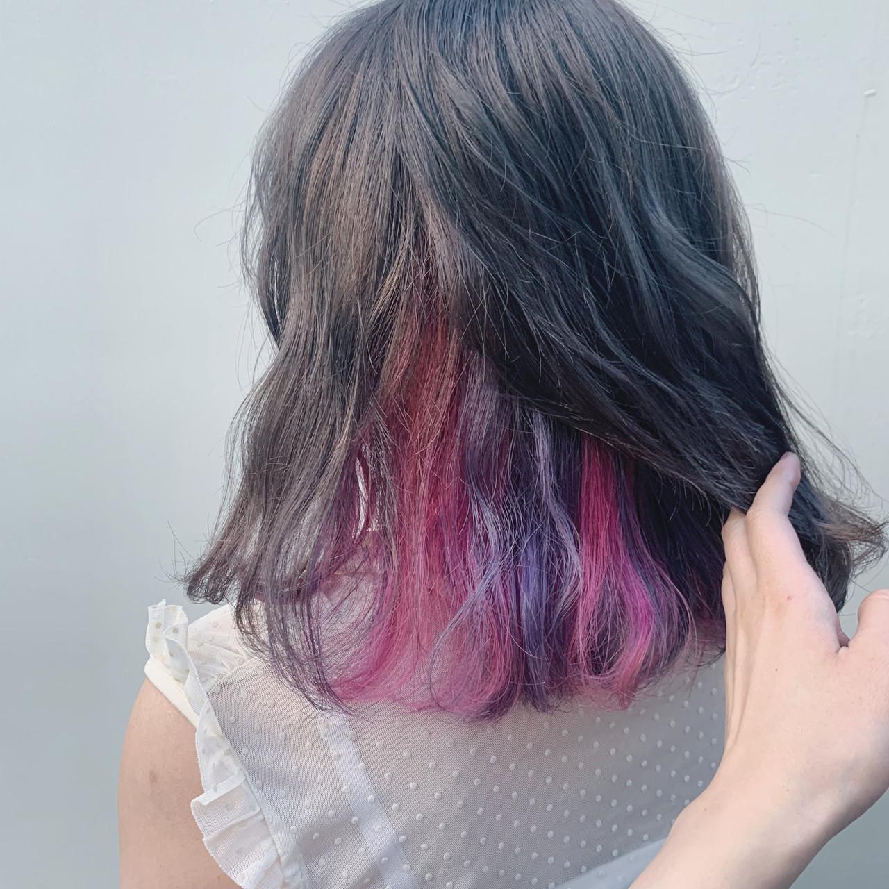 ガーリー ミディアム インナーカラーパープル インナーカラー ヘアスタイルや髪型の写真・画像 | アヤ / Lano by HAIR