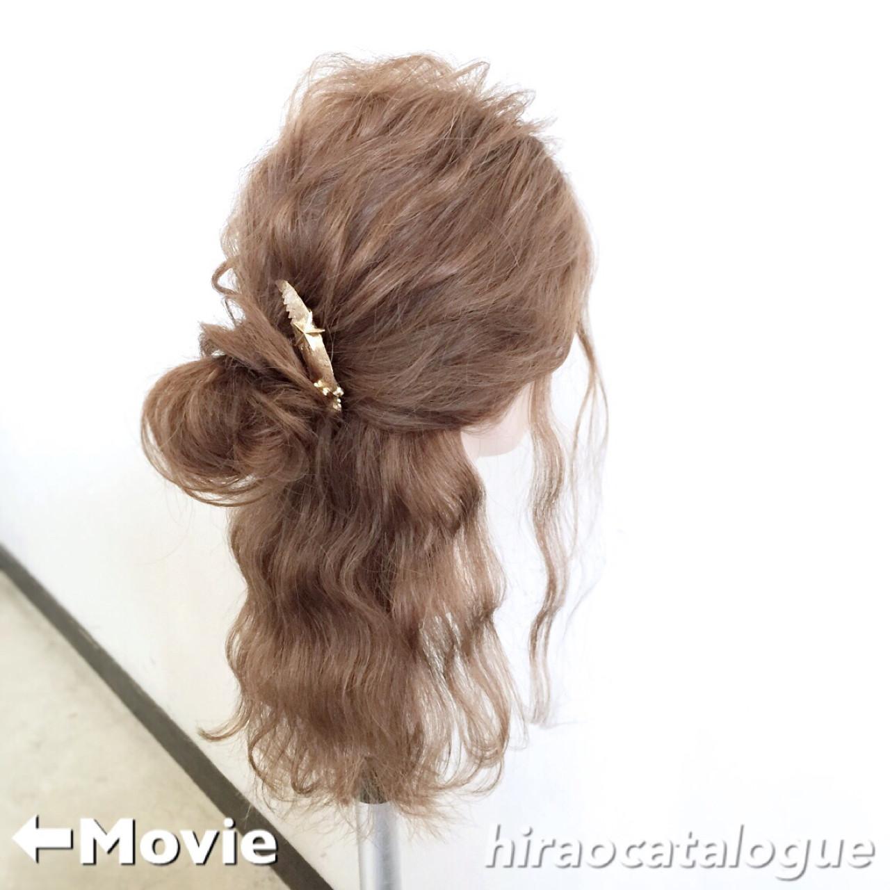 お団子 ショート ヘアアレンジ ハーフアップ ヘアスタイルや髪型の写真・画像