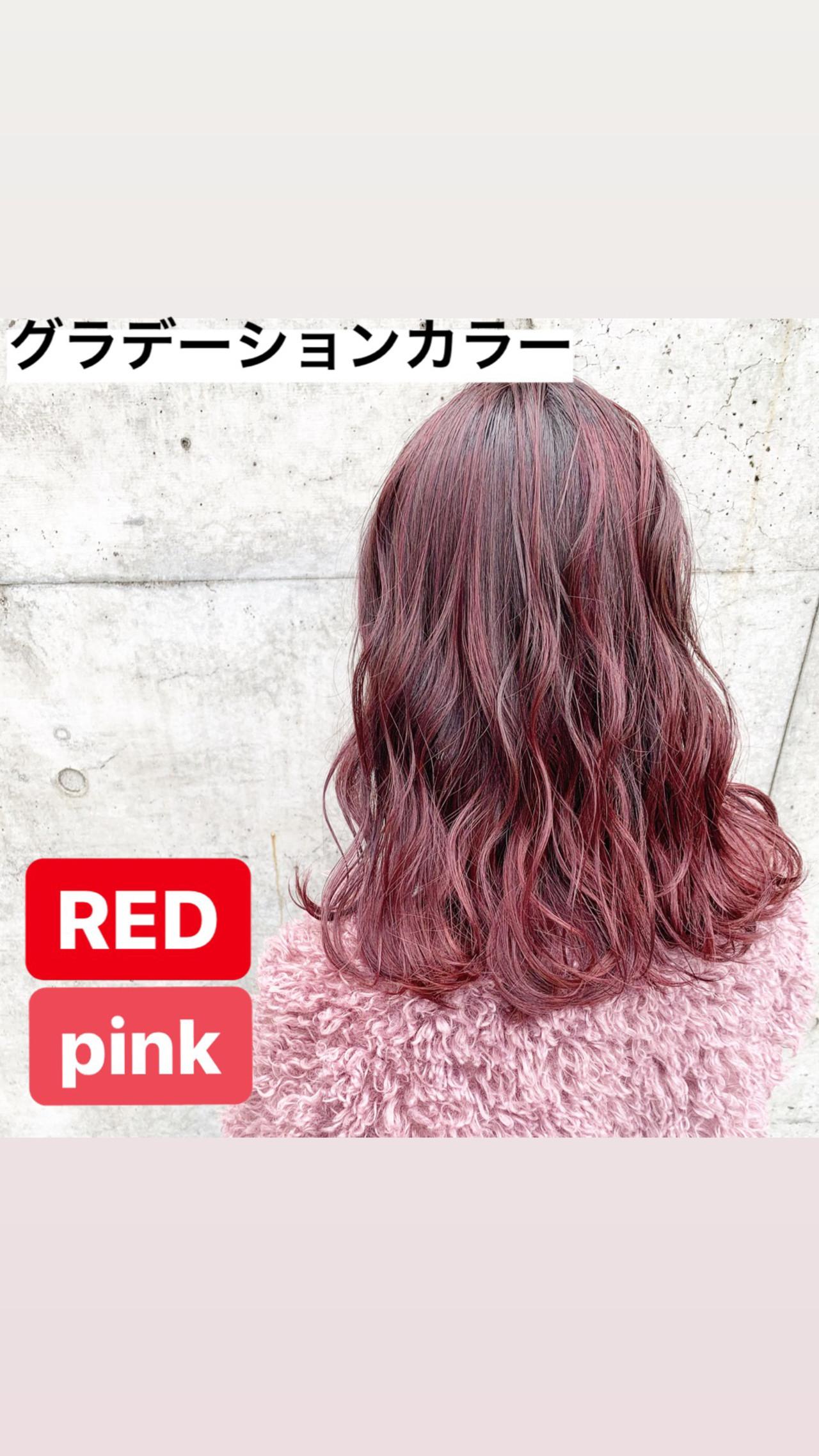 ピンクブラウン ミディアム ベリーピンク チェリーレッド ヘアスタイルや髪型の写真・画像