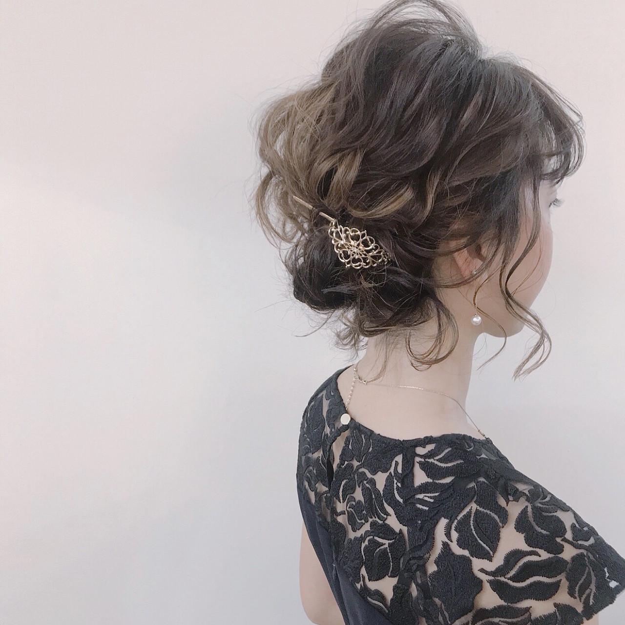 結婚式 ナチュラル ボブ ゆるふわ ヘアスタイルや髪型の写真・画像