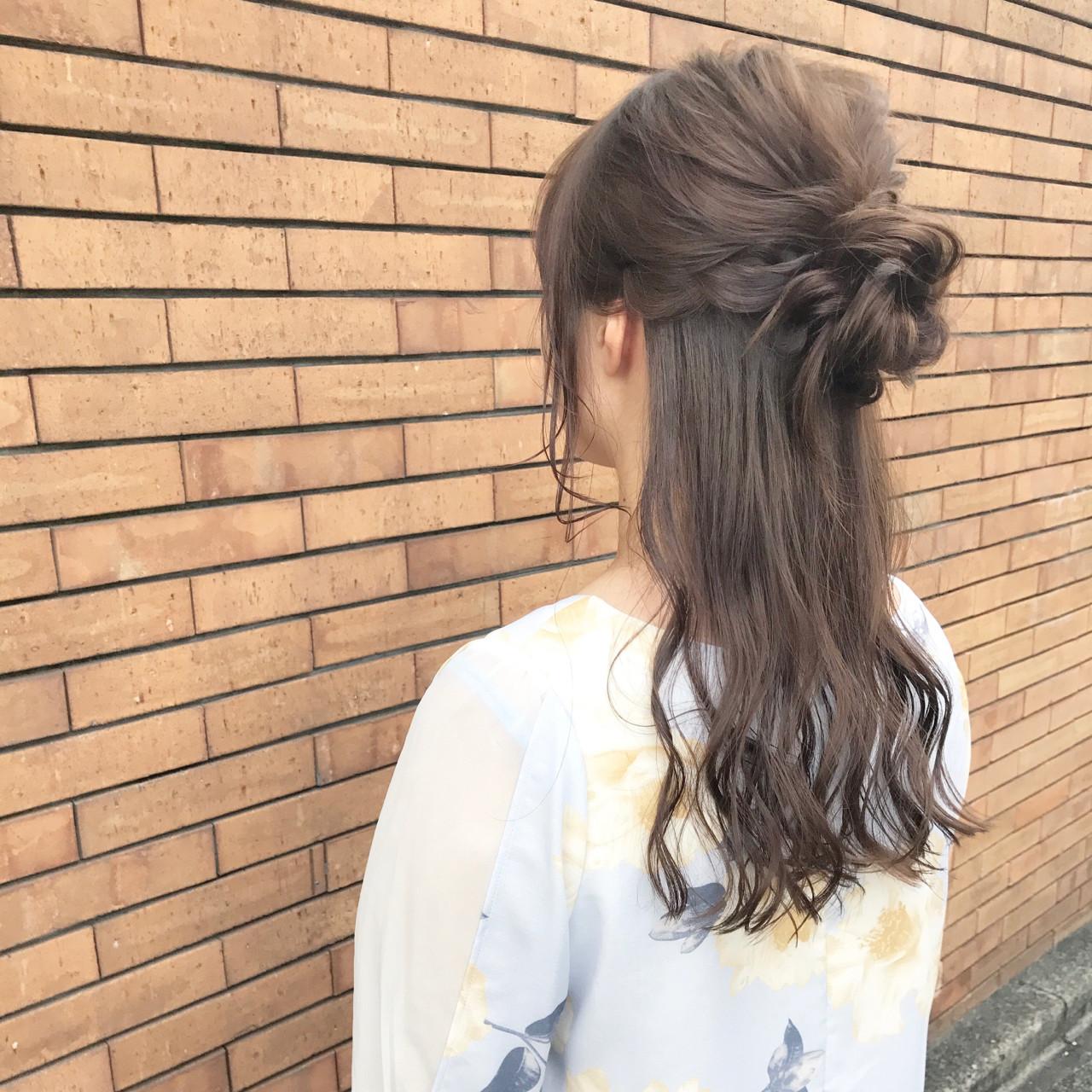 デート 簡単ヘアアレンジ ナチュラル 女子会 ヘアスタイルや髪型の写真・画像