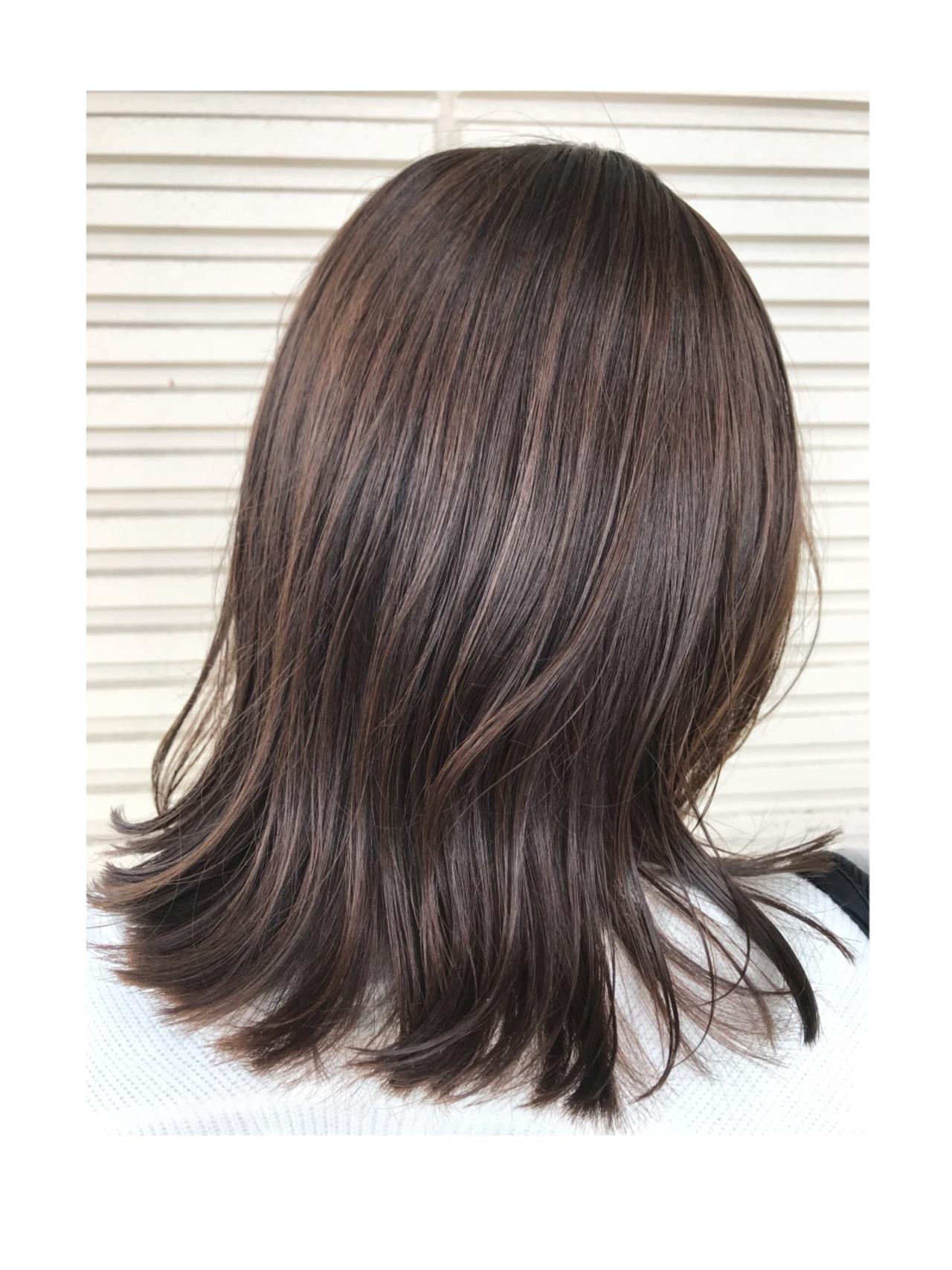 ナチュラル ラベンダーアッシュ グラデーションカラー ハイライト ヘアスタイルや髪型の写真・画像