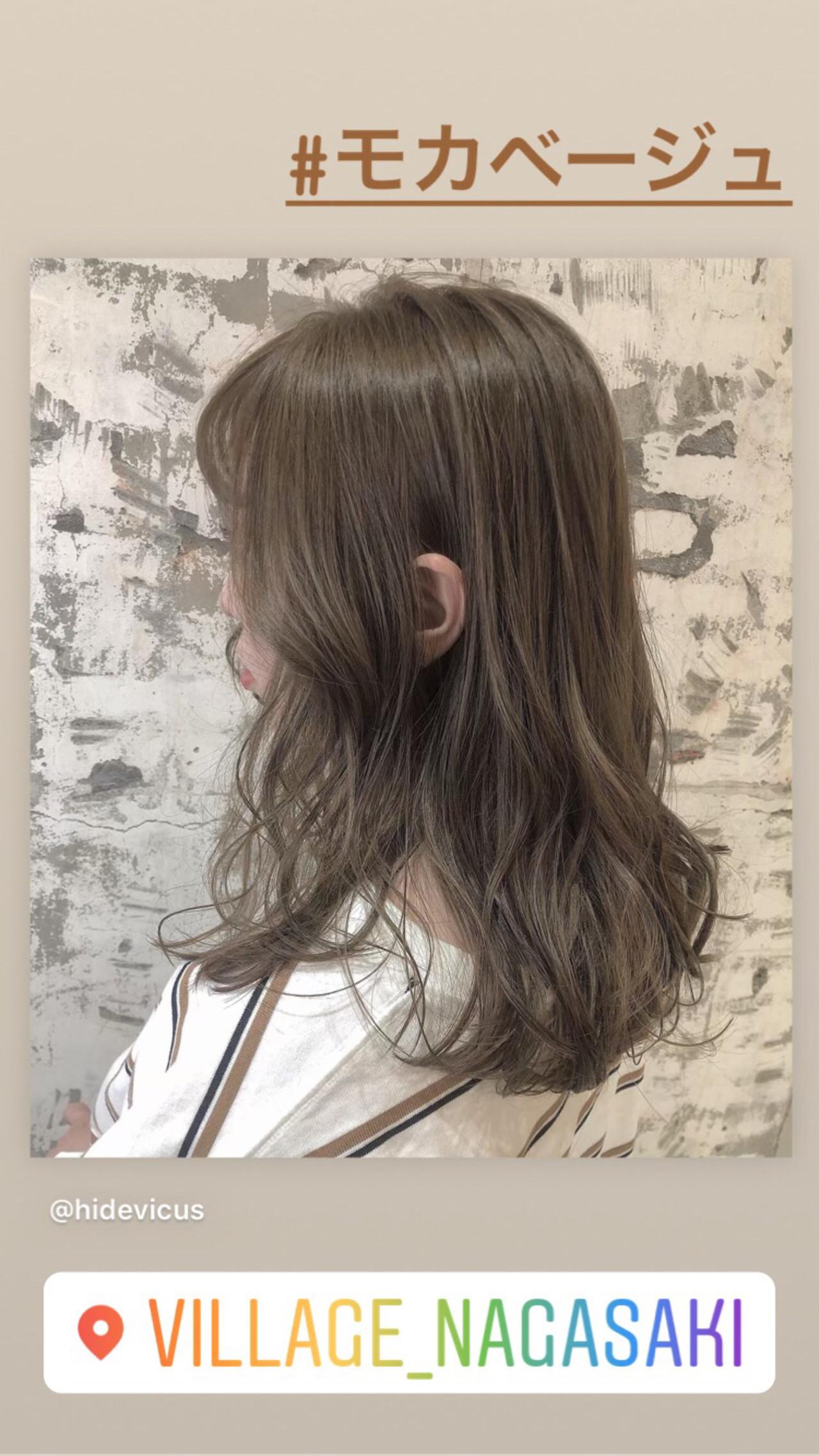 外国人風カラー ミルクティーベージュ グレージュ モカベージュ ヘアスタイルや髪型の写真・画像