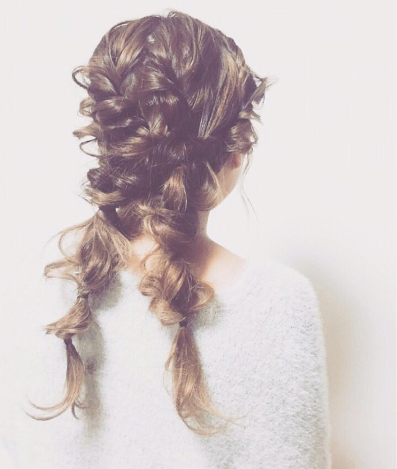 ツインテール ゆるふわ ロング 編み込み ヘアスタイルや髪型の写真・画像 | 松下 みちる / snob AnBlick