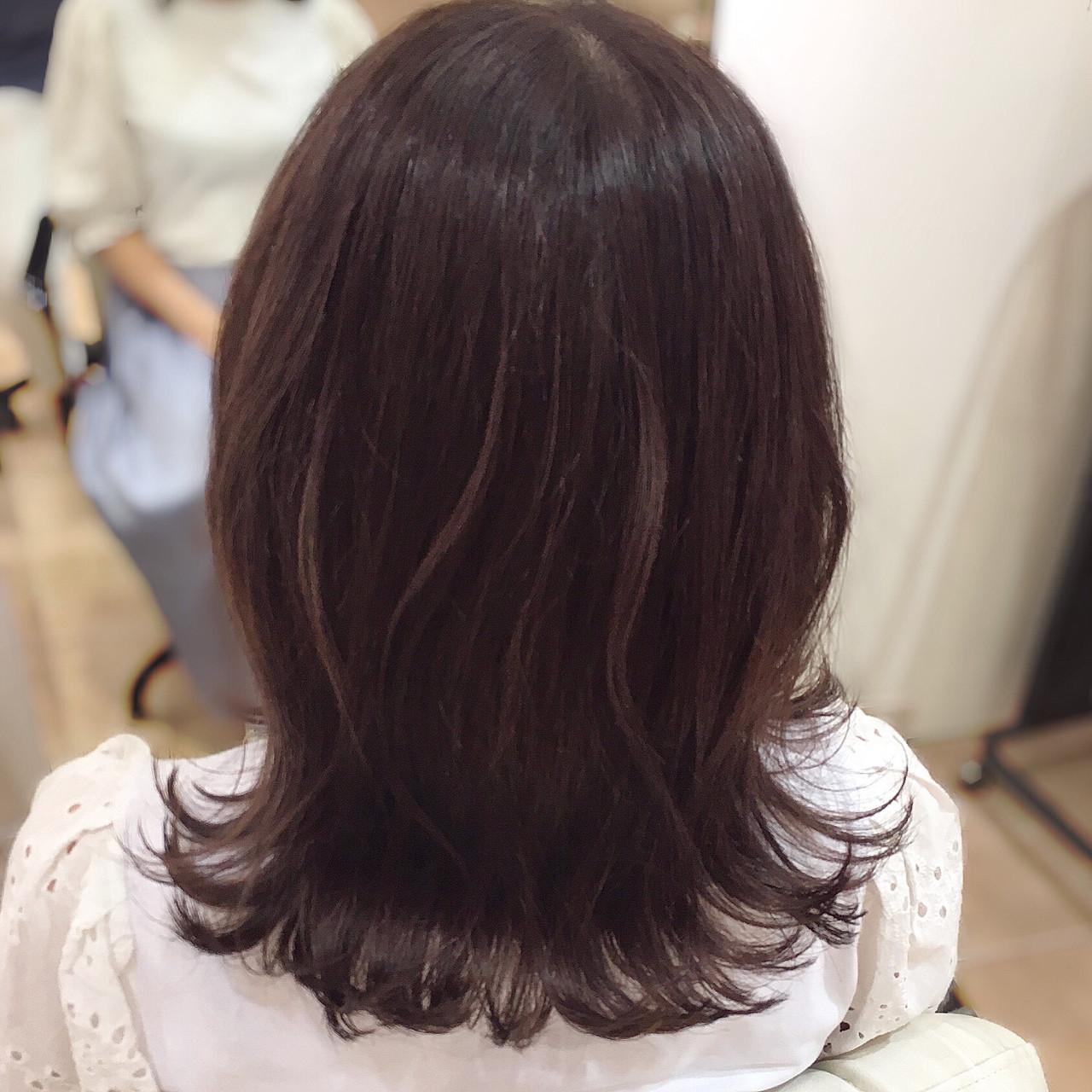 セミロング 可愛い フェミニン ピンク ヘアスタイルや髪型の写真・画像 | 平本 詠一 / fabris