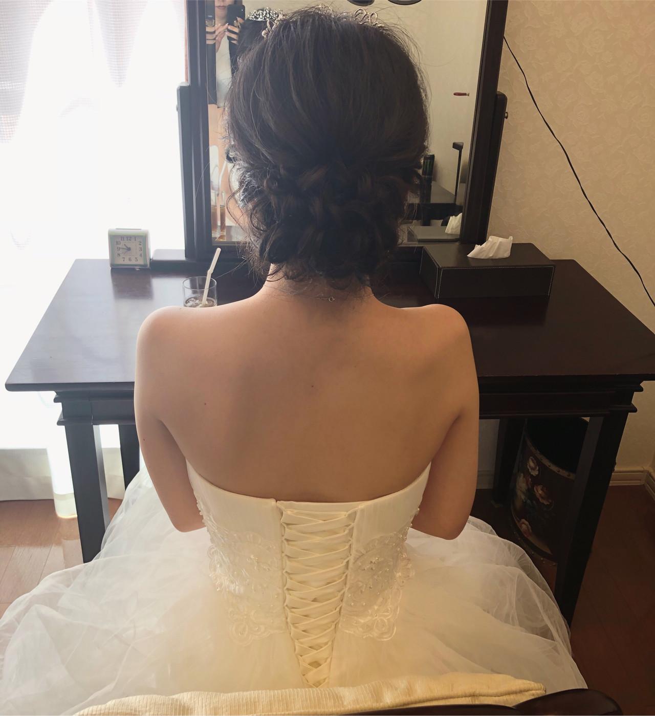 結婚式 ヘアアレンジ セミロング アップ ヘアスタイルや髪型の写真・画像 | mai / HAIR SALON STELLA