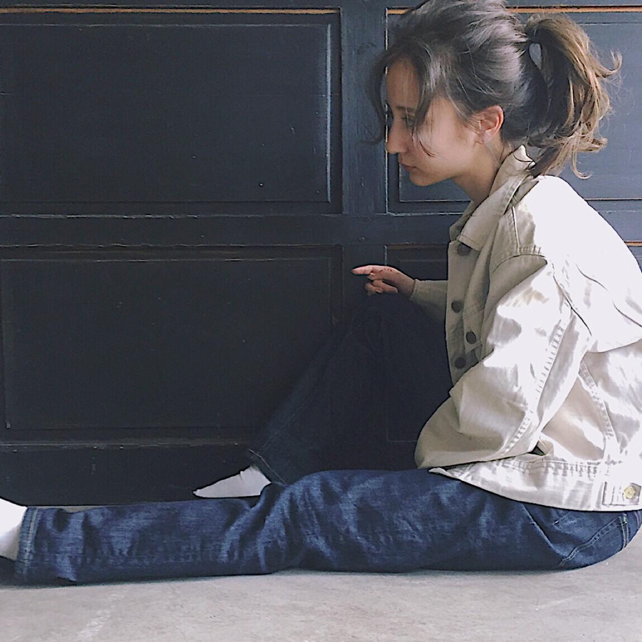 ミディアム ミルクティー ニュアンス 小顔 ヘアスタイルや髪型の写真・画像 | 冨永 真太郎 / 人トナリ