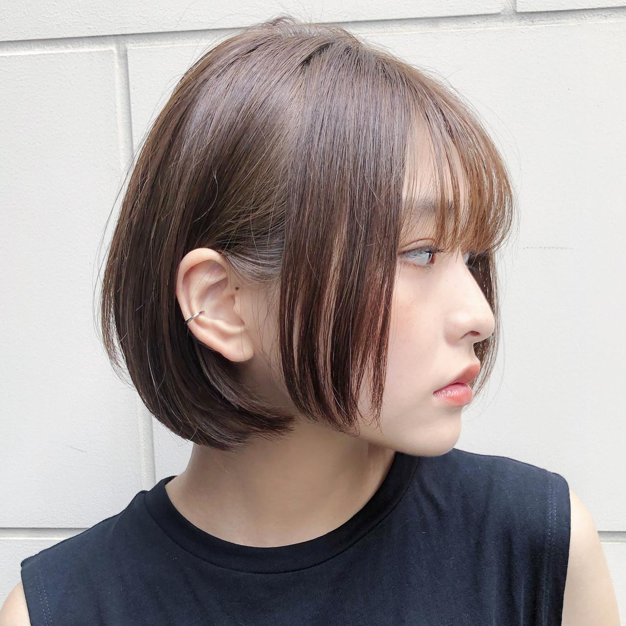 切りっぱなしボブ ボブ デート 大人可愛い ヘアスタイルや髪型の写真・画像 | 趙 英来 (よん) / nex