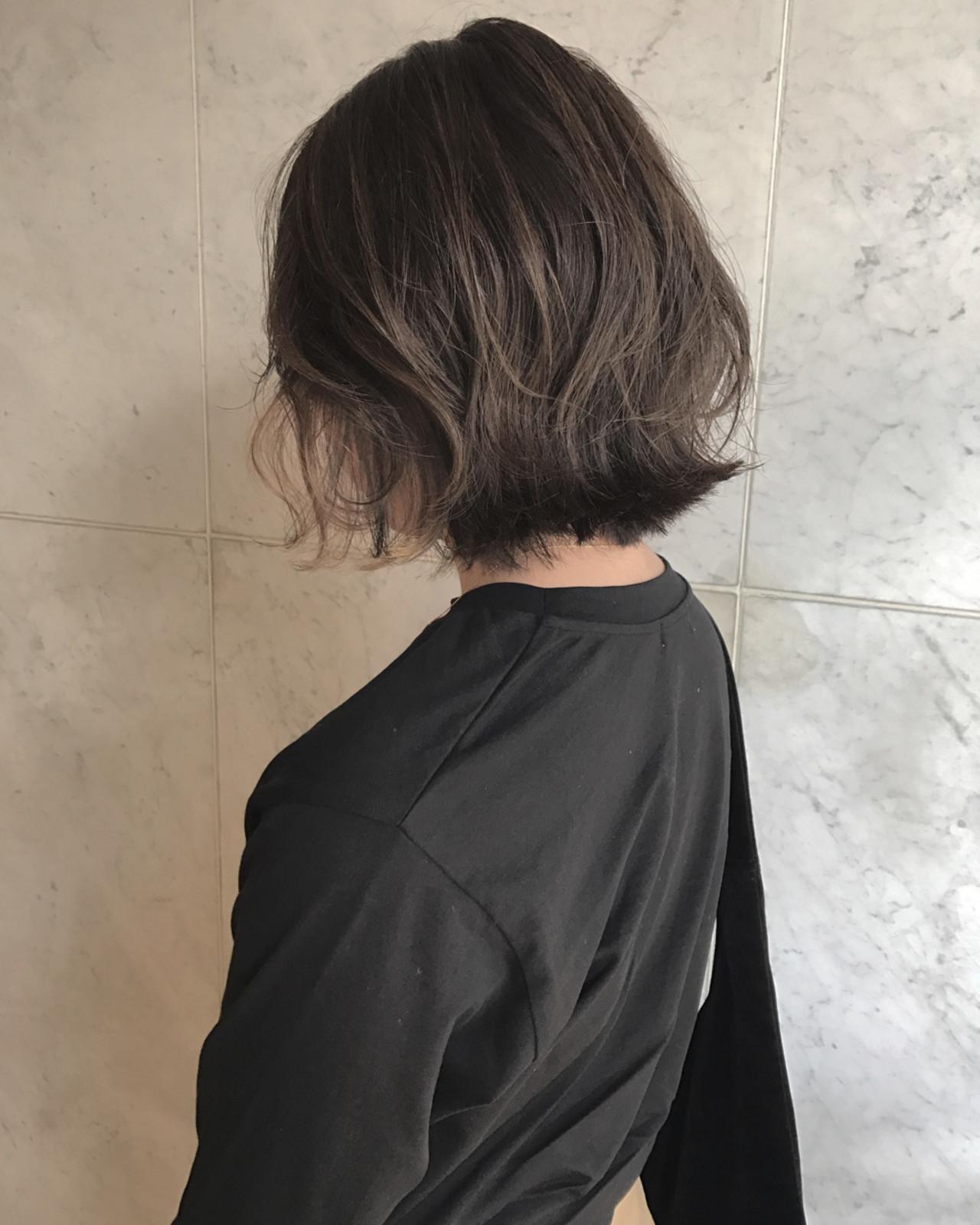 アンニュイ ボブ 外国人風カラー ハイライト ヘアスタイルや髪型の写真・画像