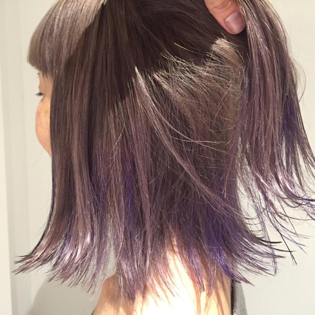外国人風カラー ボブ ストリート ハイライト ヘアスタイルや髪型の写真・画像