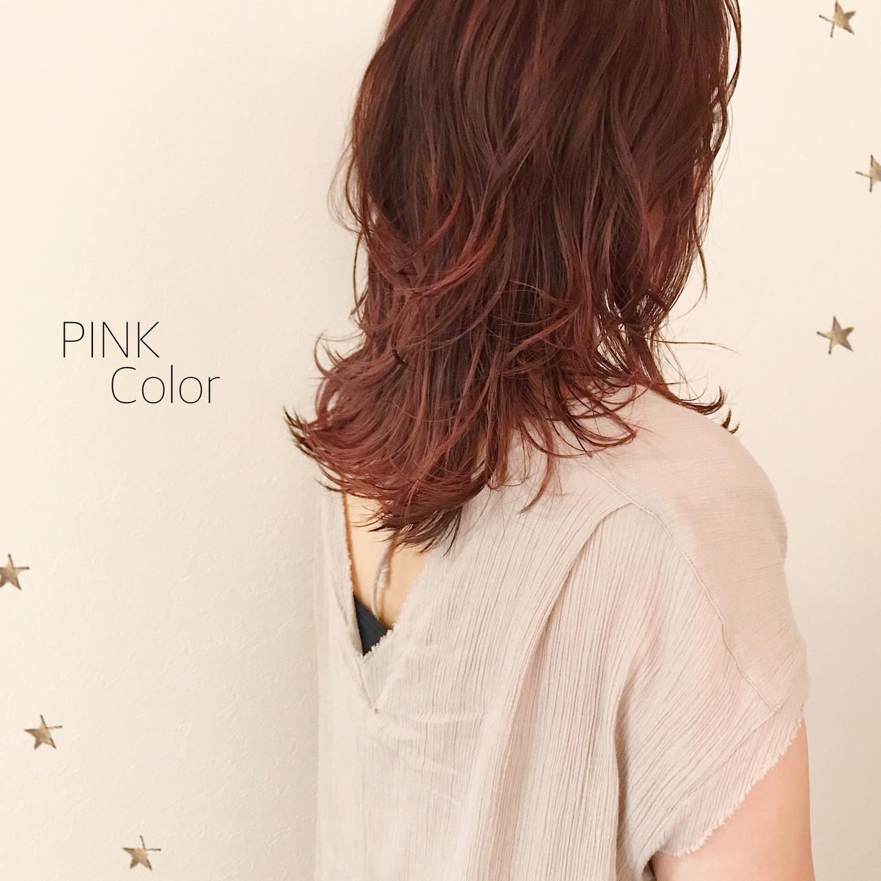 ストリート ピンク セミロング ニュアンスウルフ ヘアスタイルや髪型の写真・画像