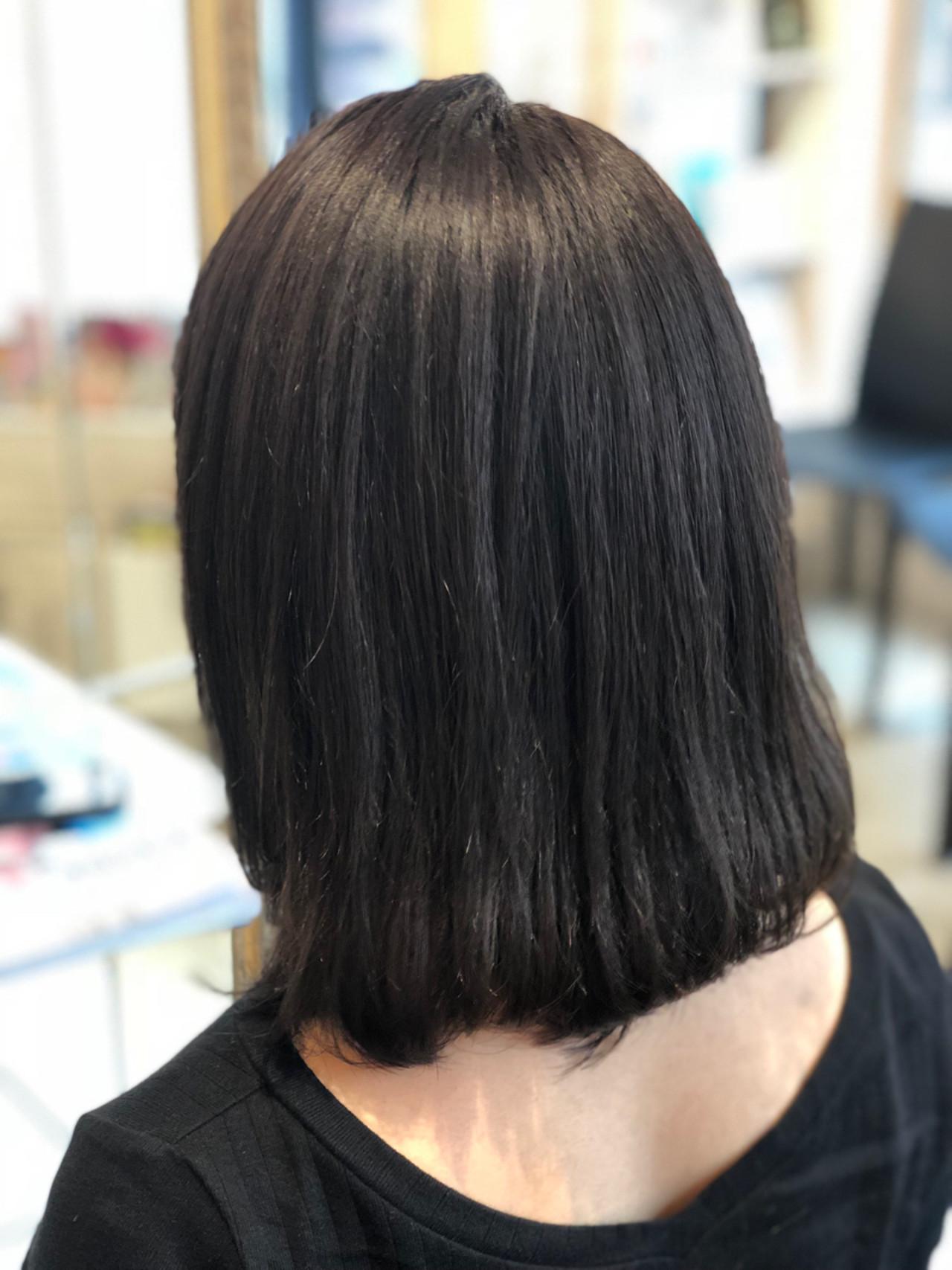 ブルー ブルージュ 暗髪 ナチュラル ヘアスタイルや髪型の写真・画像