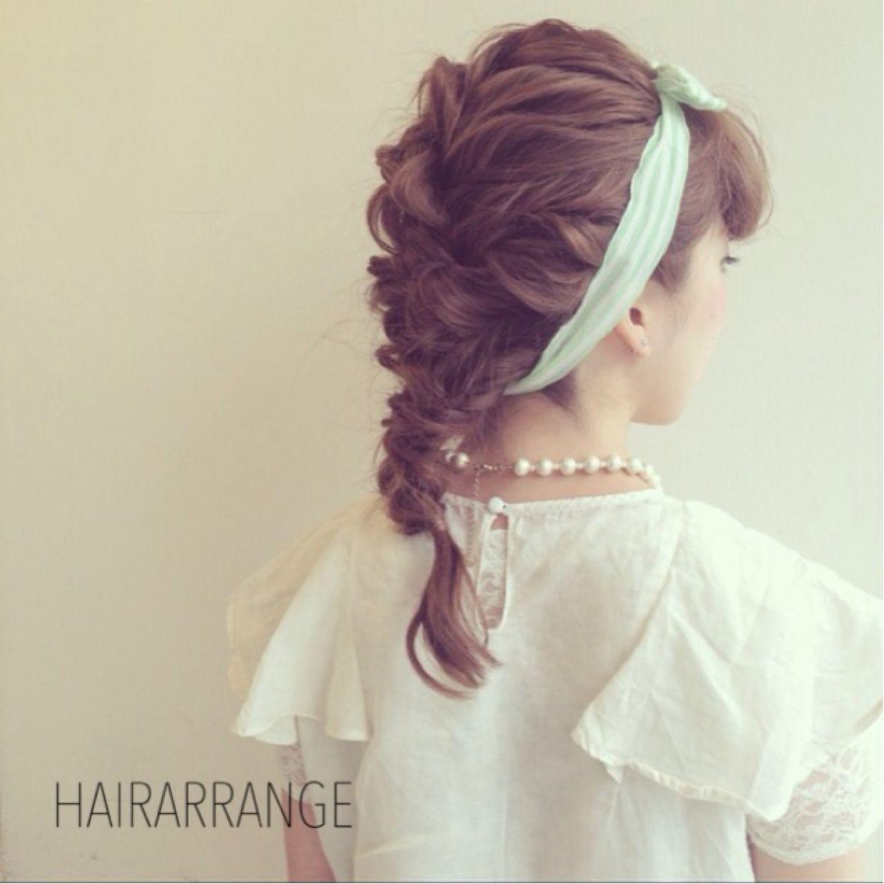 ナチュラル 夏 お祭り 三つ編み ヘアスタイルや髪型の写真・画像