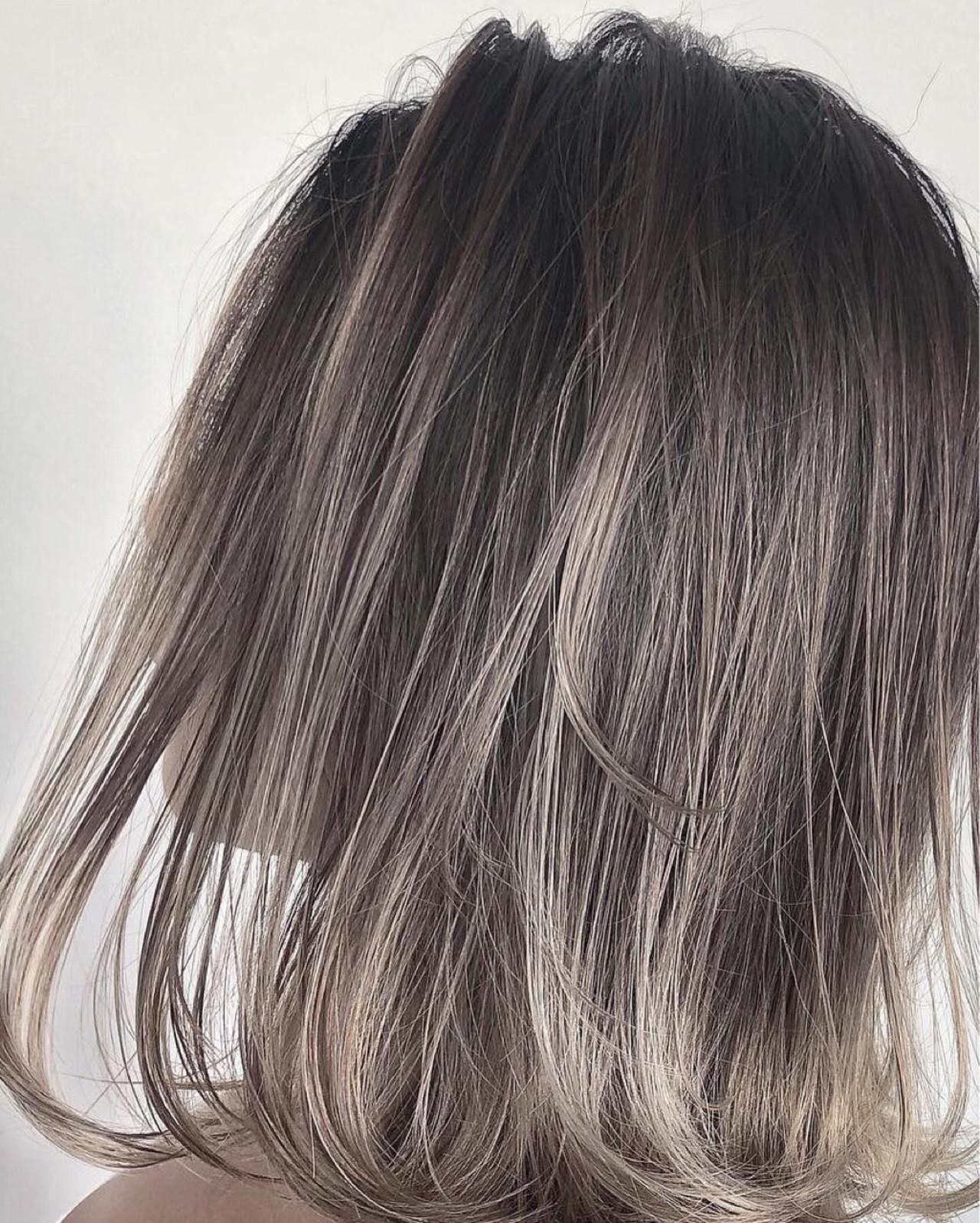 ボブ ハイライト ヘアアレンジ グレージュ ヘアスタイルや髪型の写真・画像 | 鈴木一貴 / heel
