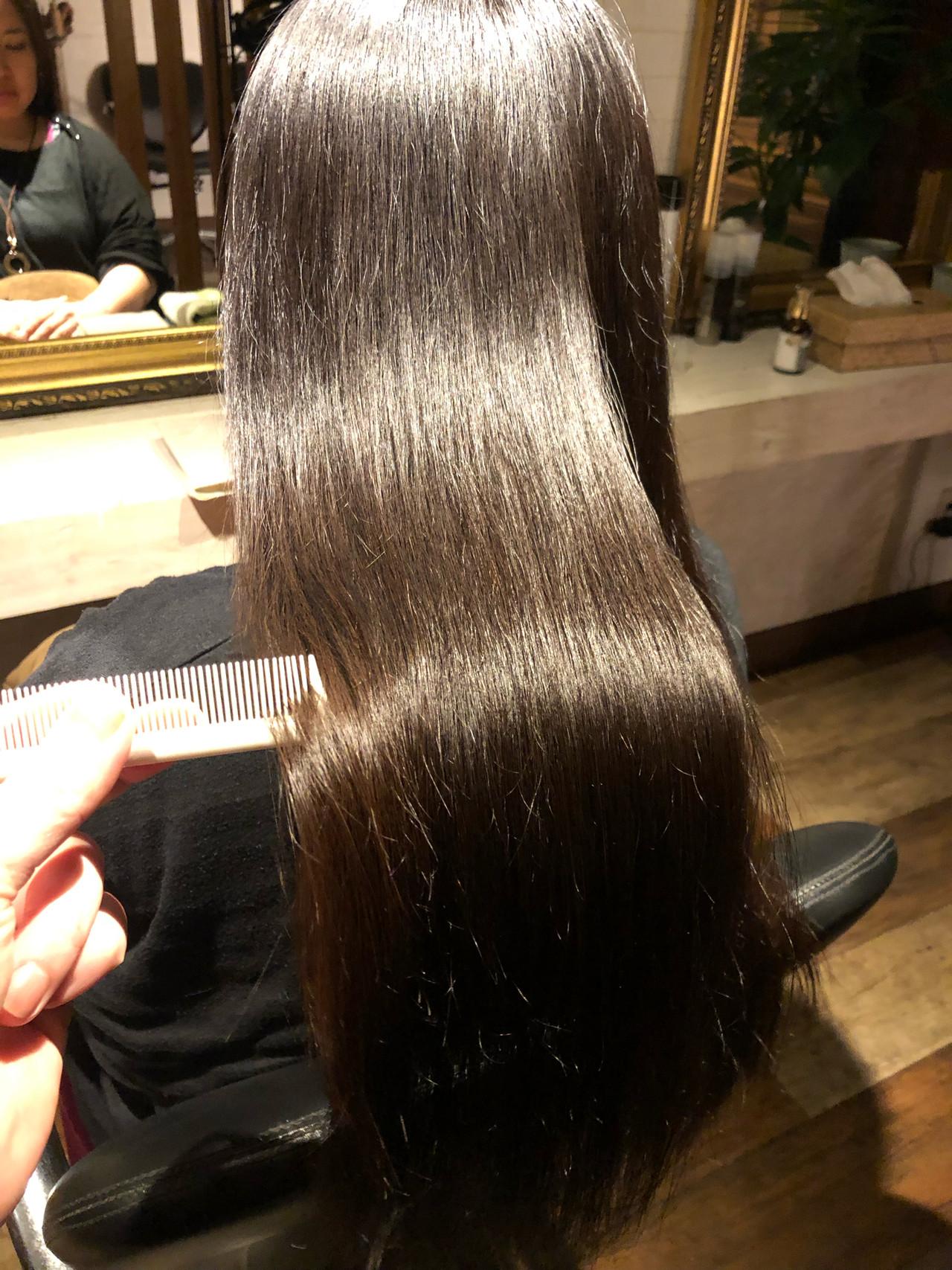 ロング 縮毛矯正 ナチュラル 美髪 ヘアスタイルや髪型の写真・画像