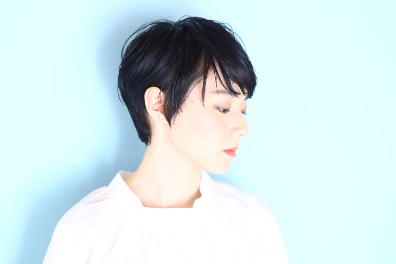 ショート ナチュラル 黒髪 ショートボブ ヘアスタイルや髪型の写真・画像