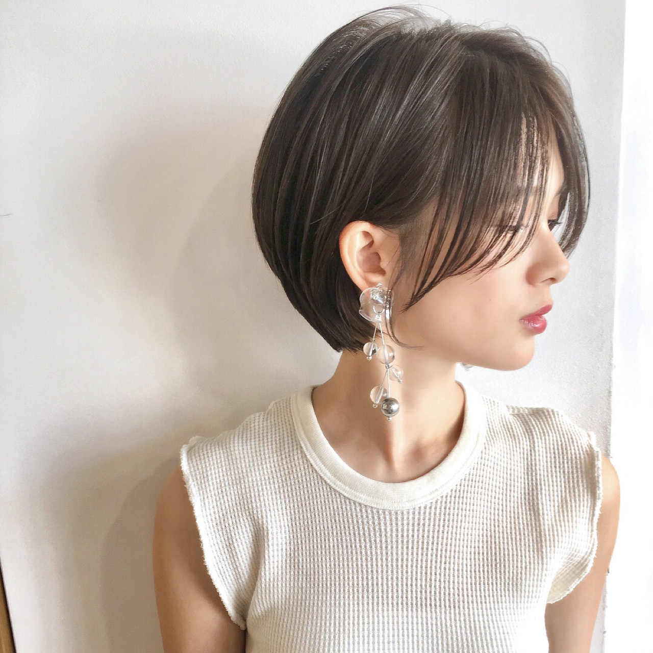 女子力 ナチュラル フェミニン ショート ヘアスタイルや髪型の写真・画像