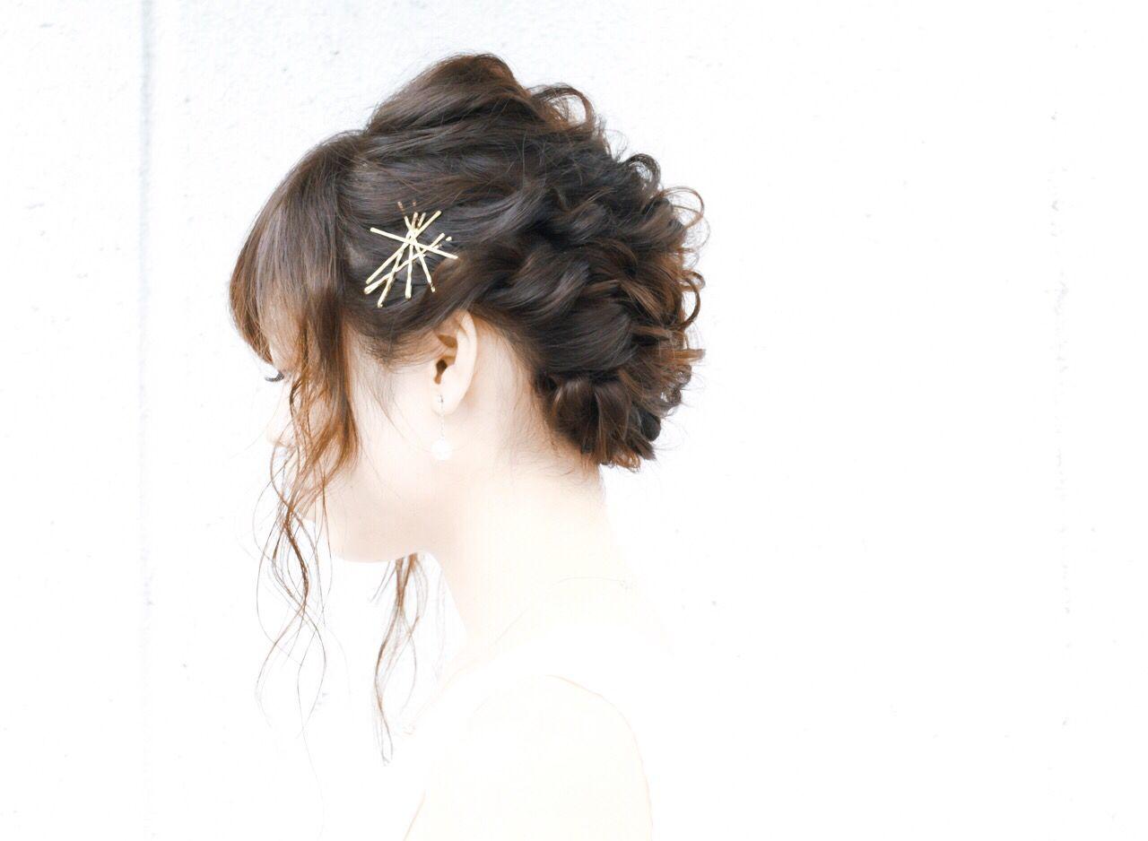 結婚式 編み込み 大人かわいい 愛され ヘアスタイルや髪型の写真・画像