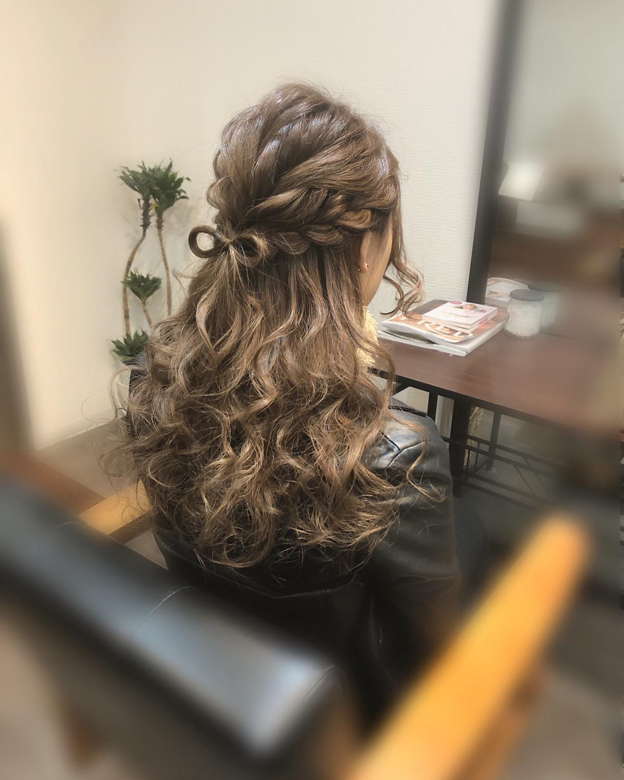 ハーフアップ リボンアレンジ ヘアアレンジ ガーリー ヘアスタイルや髪型の写真・画像