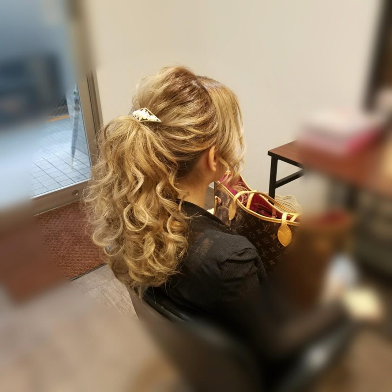 ポニーテール フェミニン アップスタイル ロング ヘアスタイルや髪型の写真・画像