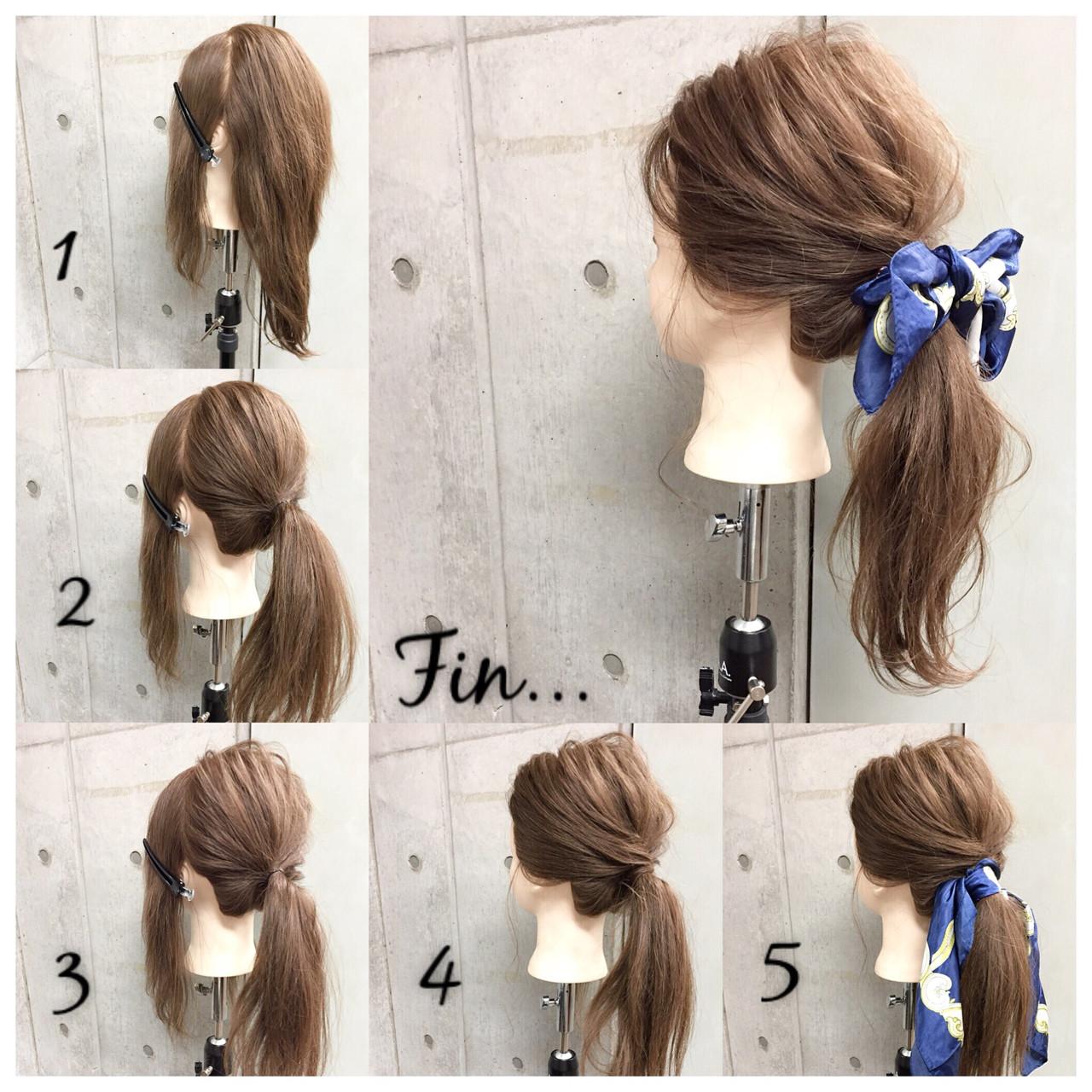 簡単で可愛い?自分でできるヘアアレンジ✨ スカーフシリーズpart4? シンプルなひとつ結びもスカーフ使いでグッと大人っぽい雰囲気が楽しめるカジュアルスタイル✂︎ ・ ピン2本・スカーフ・ゴム1本 所有時間5分 1.両サイドとバックの3つに分けます。 2.バックの髪を毛束をねじってからゴムで1つに結びます 3.結び目を抑えながら毛束を適度にほぐします 4.両サイドの髪を2の結び目に巻きつけてピンで留めます※逆サイドも同様に 5.結び目にスカーフを結びます Fin.スカーフはリボン結びにして最初に下ろしておいたおくれ毛をコテで巻いて完成? ・ ・ 吉祥寺 LinobyU-REALM リノバイユーレルム ?0422272131 東海林翔太