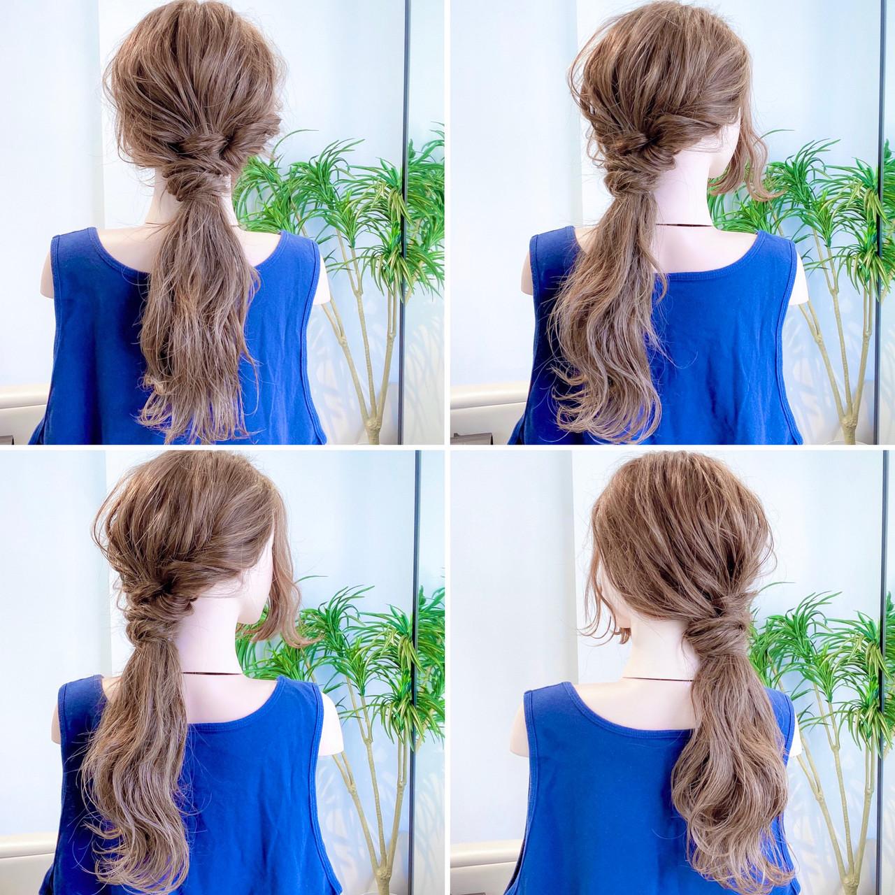 フェミニン ロングヘア 簡単ヘアアレンジ ロング ヘアスタイルや髪型の写真・画像