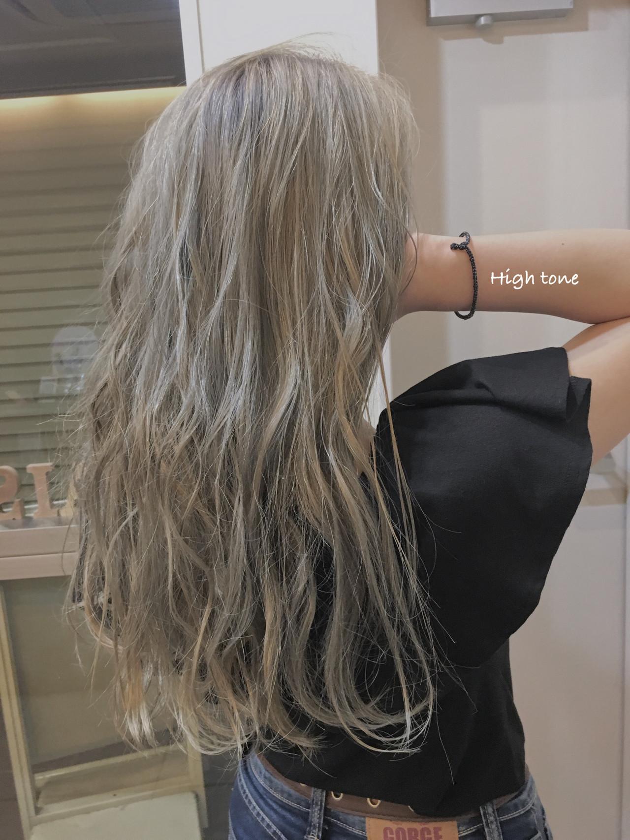 大人ハイライト セミロング コントラストハイライト 3Dハイライト ヘアスタイルや髪型の写真・画像