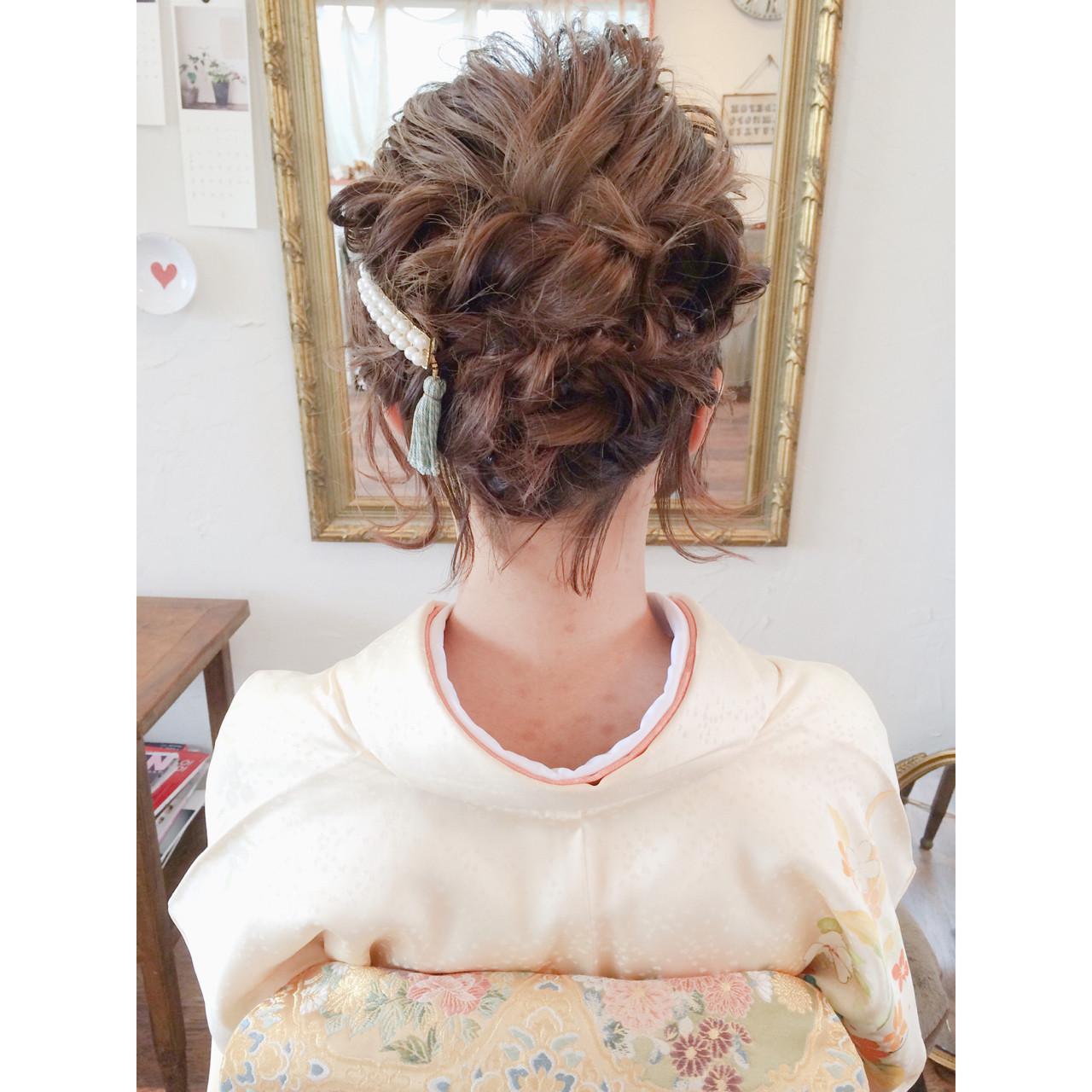 結婚式 編み込み ヘアアレンジ ボブ ヘアスタイルや髪型の写真・画像