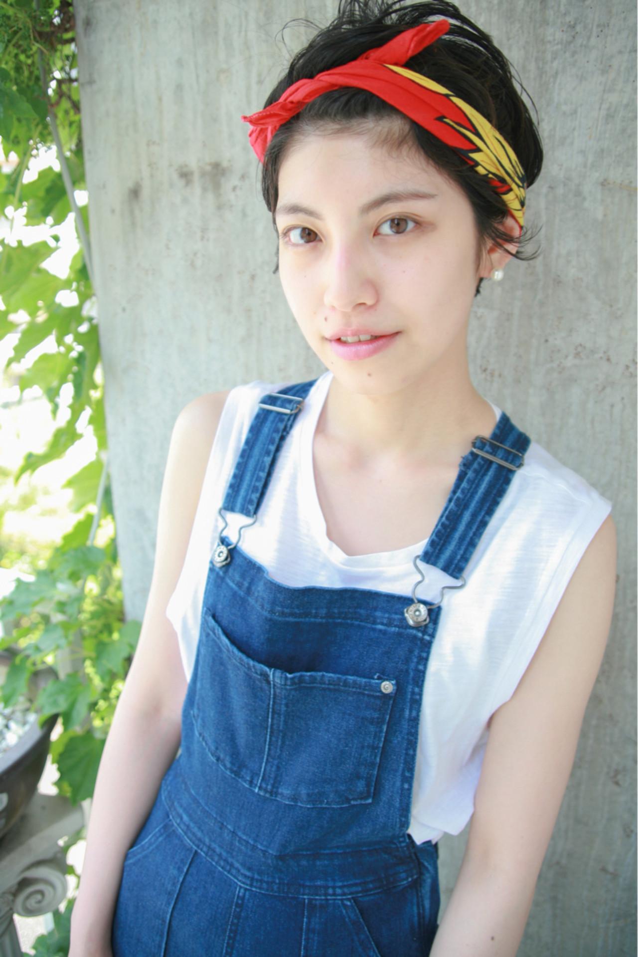 抜け感 ショート ヘアアレンジ 夏 ヘアスタイルや髪型の写真・画像 | 小西敬二郎 / Heartim