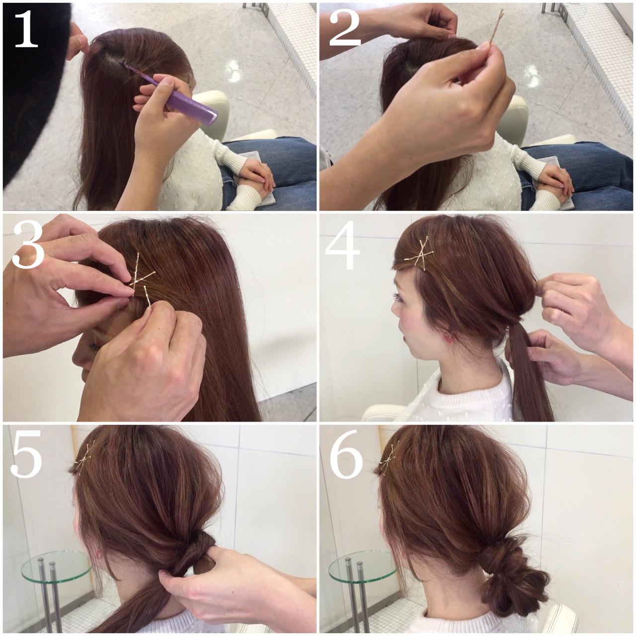ロング デート フェミニン ヘアピン ヘアスタイルや髪型の写真・画像