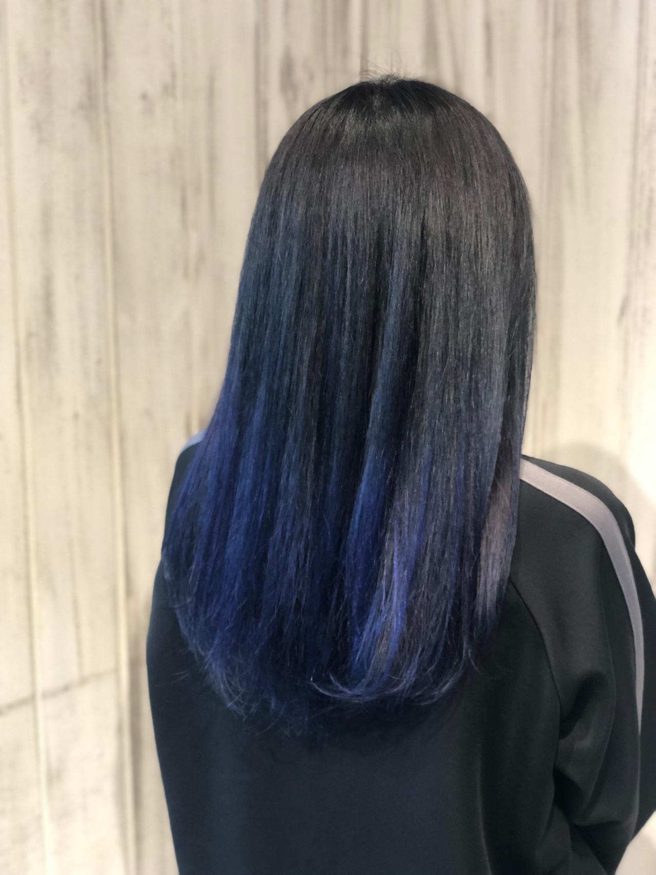 ブルー ストリート グラデーションカラー ロング ヘアスタイルや髪型の写真・画像