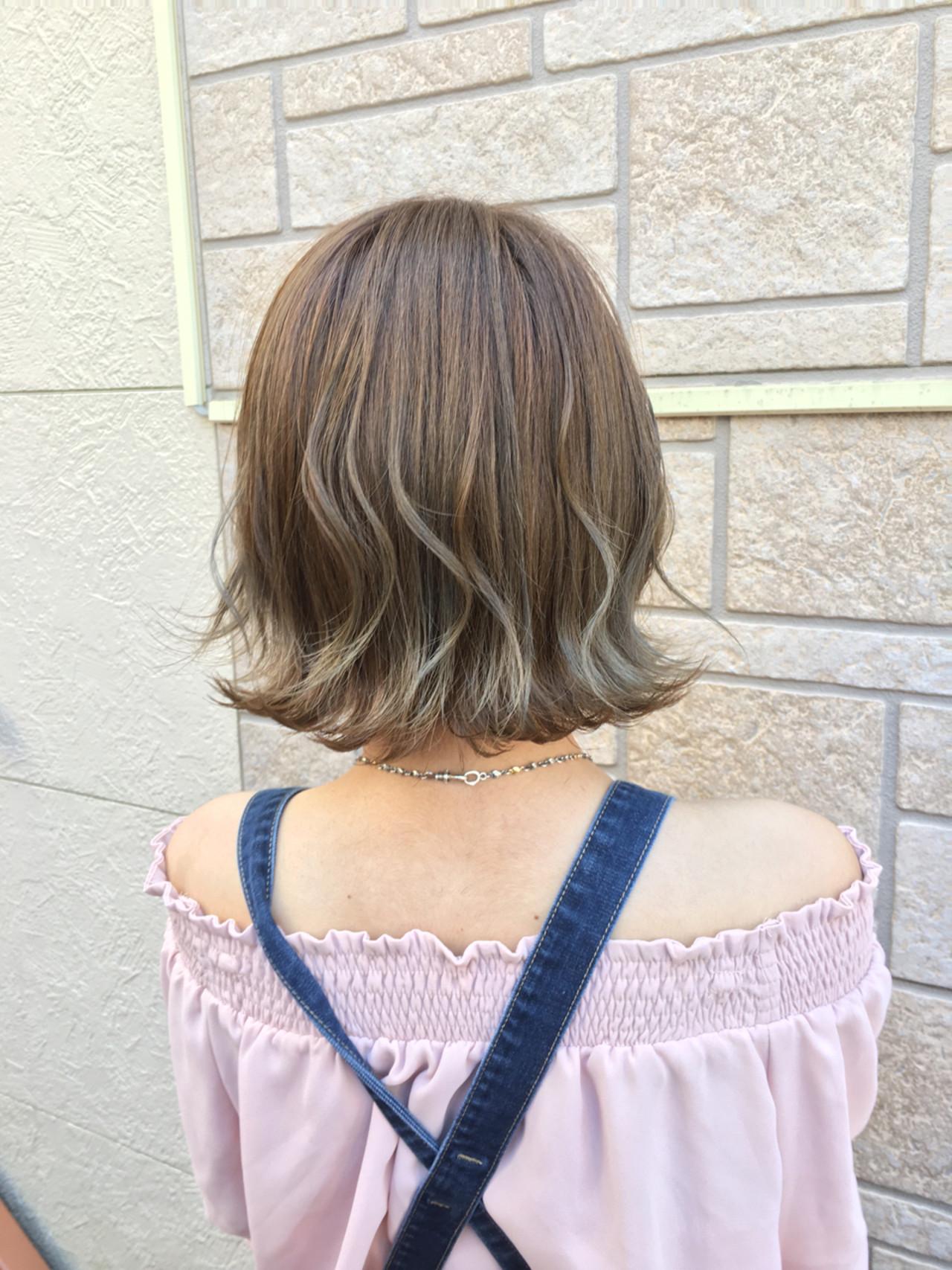 ハイライト ボブ かわいい ナチュラル ヘアスタイルや髪型の写真・画像